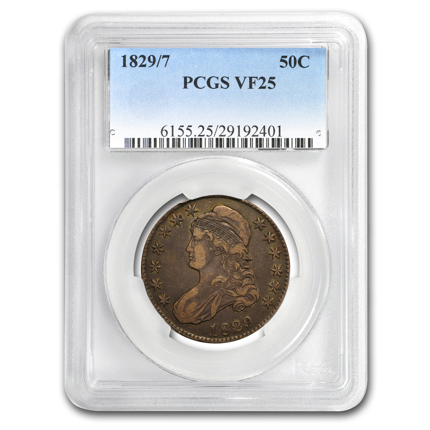 1829/7 Capped Bust Half Dollar VF-25 PCGS
