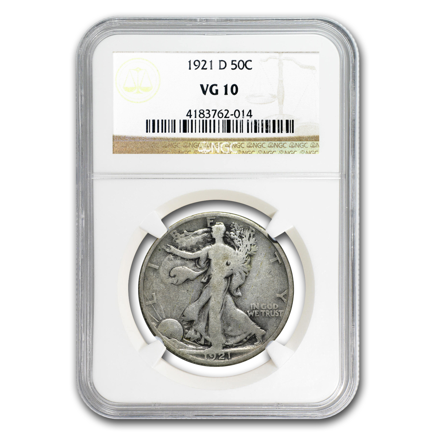 1921-D Walking Liberty Half Dollar VG-10 NGC