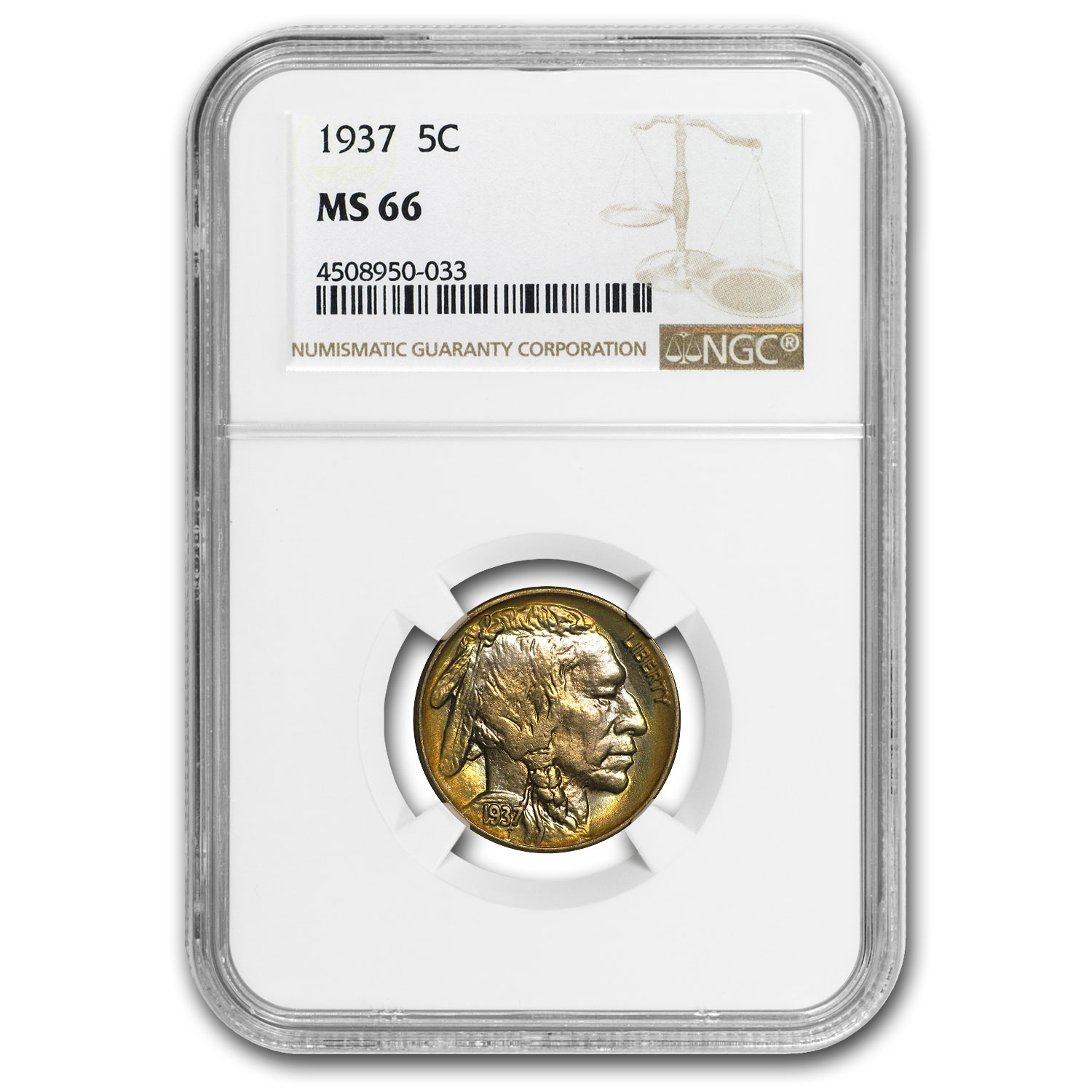 1937 Buffalo Nickel MS-66 NGC (Rainbow Toning)
