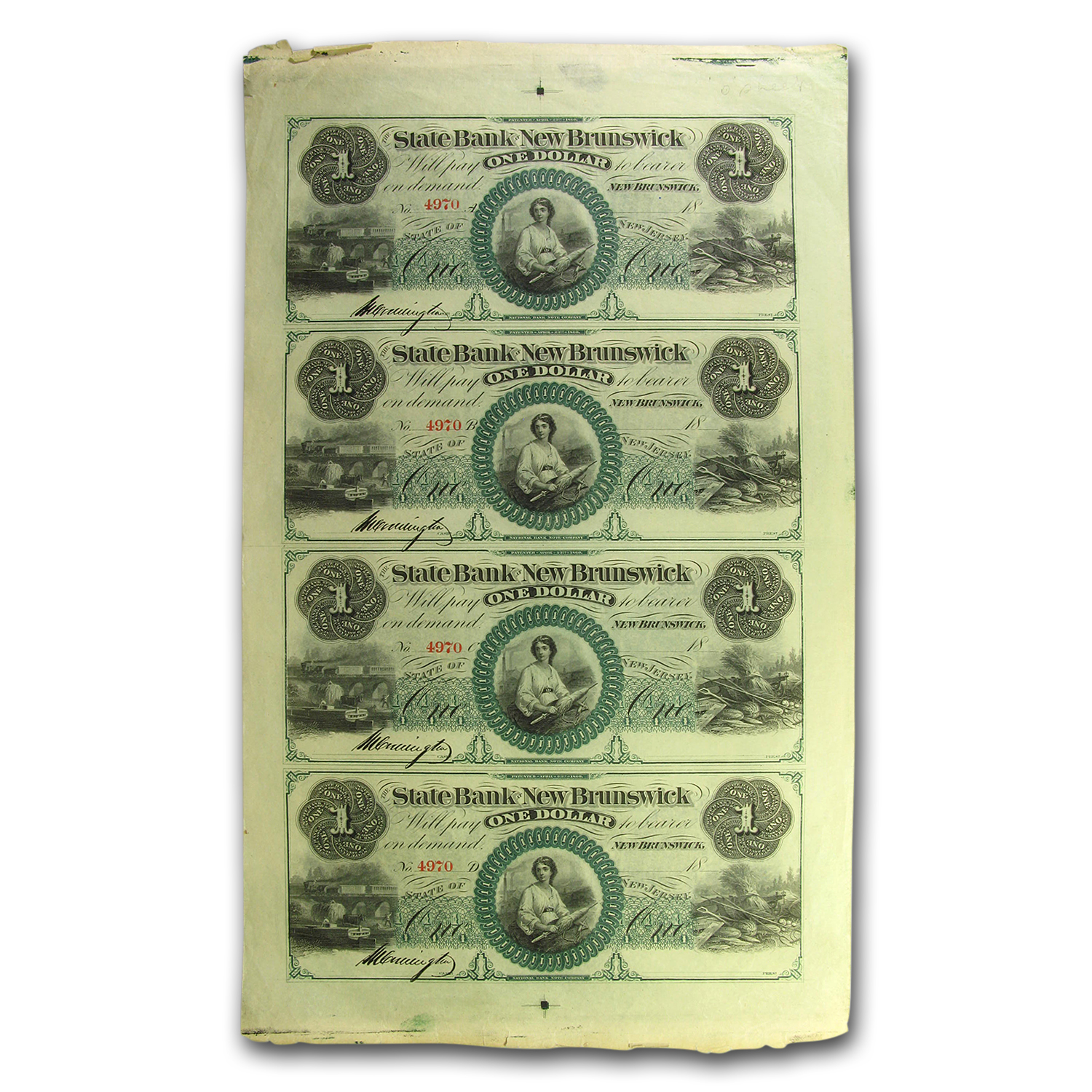 18__ State Bank of New Brunswick, NJ $1.00 Uncut Sheet CU