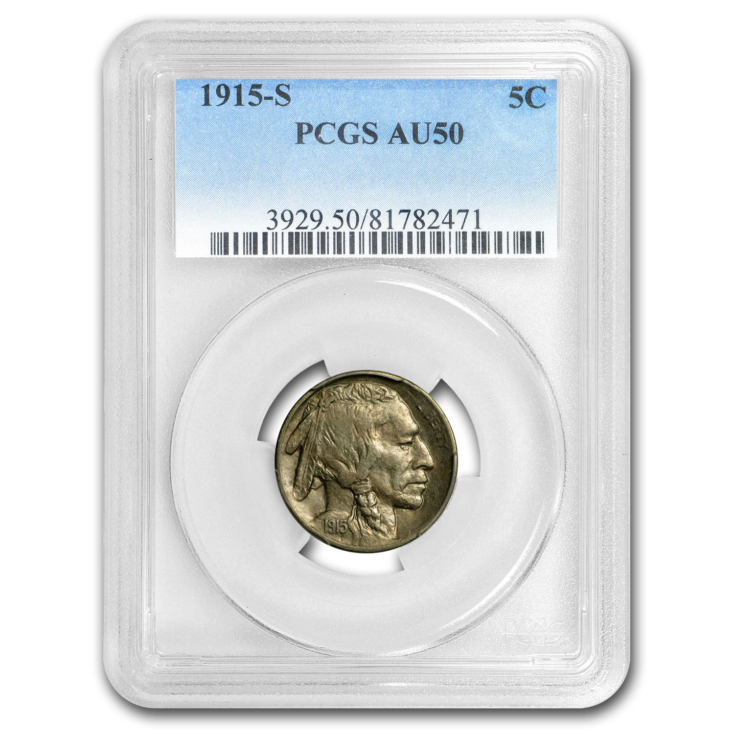 1915-S Buffalo Nickel AU-50 PCGS
