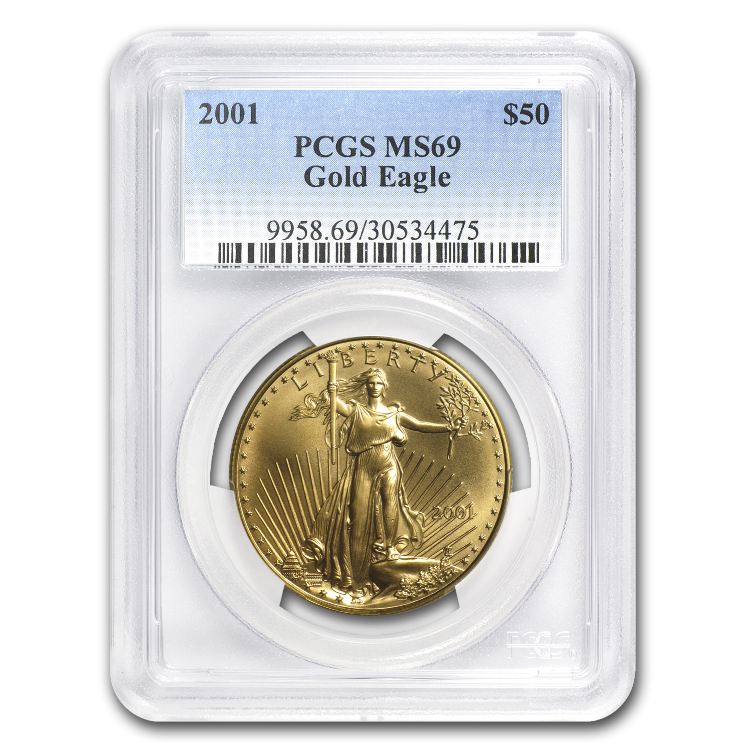 2001 1 oz Gold American Eagle MS-69 PCGS