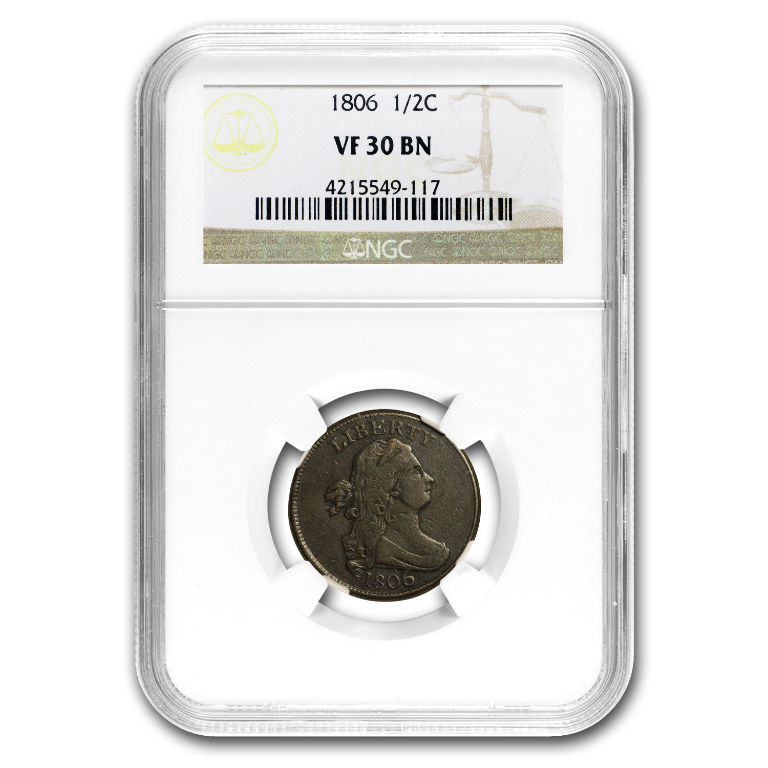 1806 Half Cent Large 6, Stems VF-30 NGC