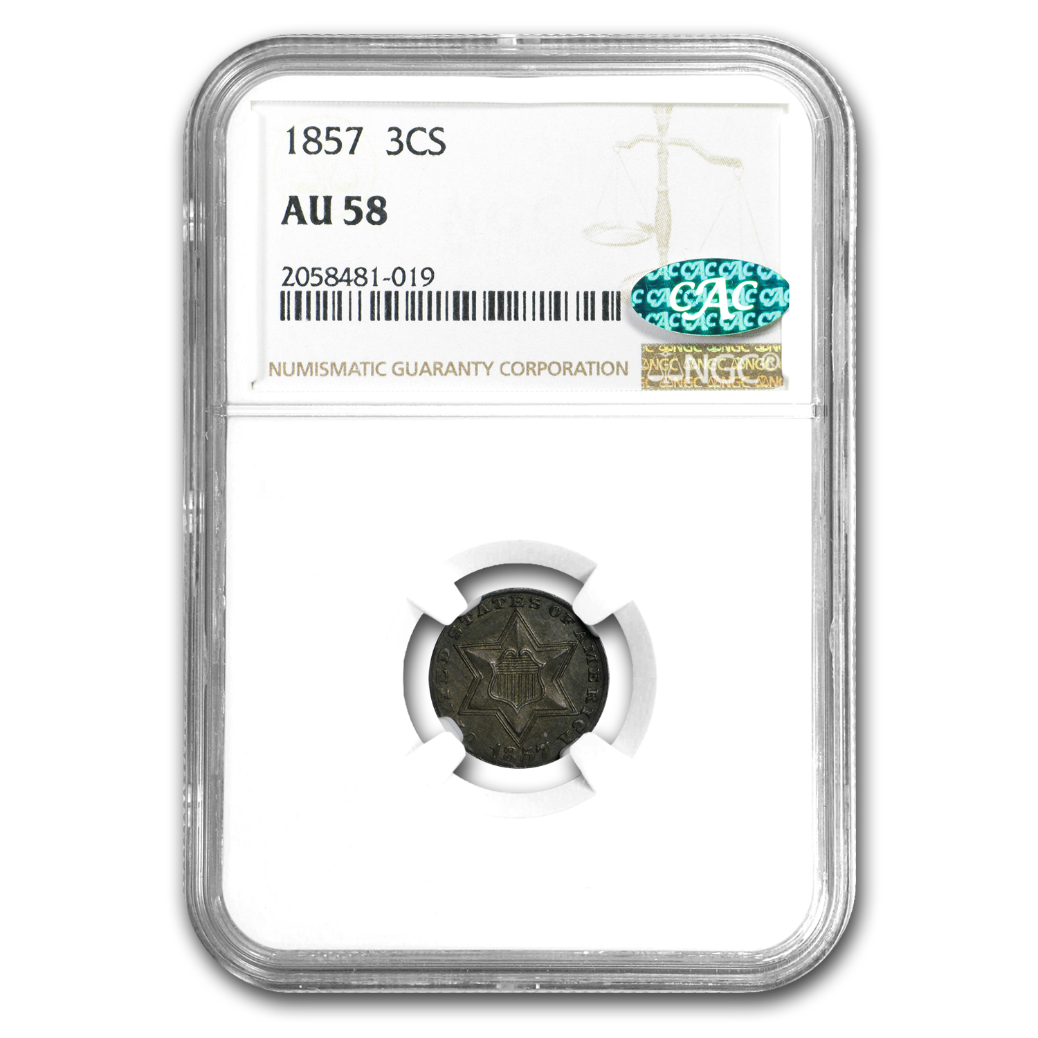 1857 Three Cent Silver AU-58 NGC CAC