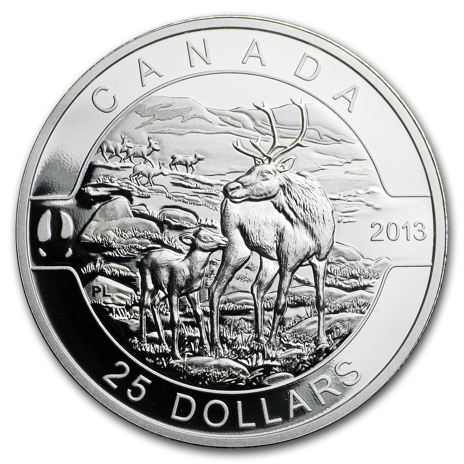 2013 Canada 1 oz Silver $25 The Caribou (No Box & COA)