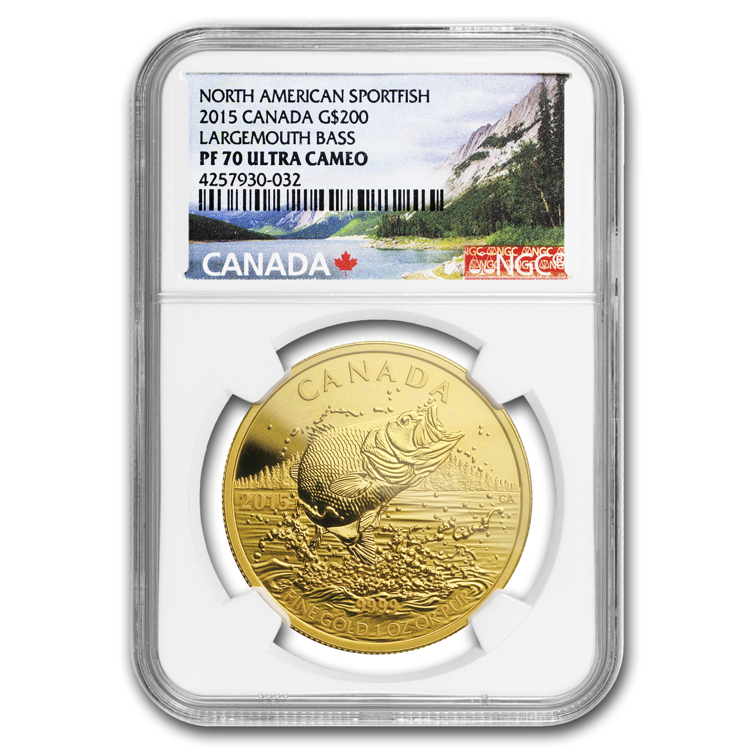 2015 Canada 1 oz Gold $200 Largemouth Bass PF-70 NGC