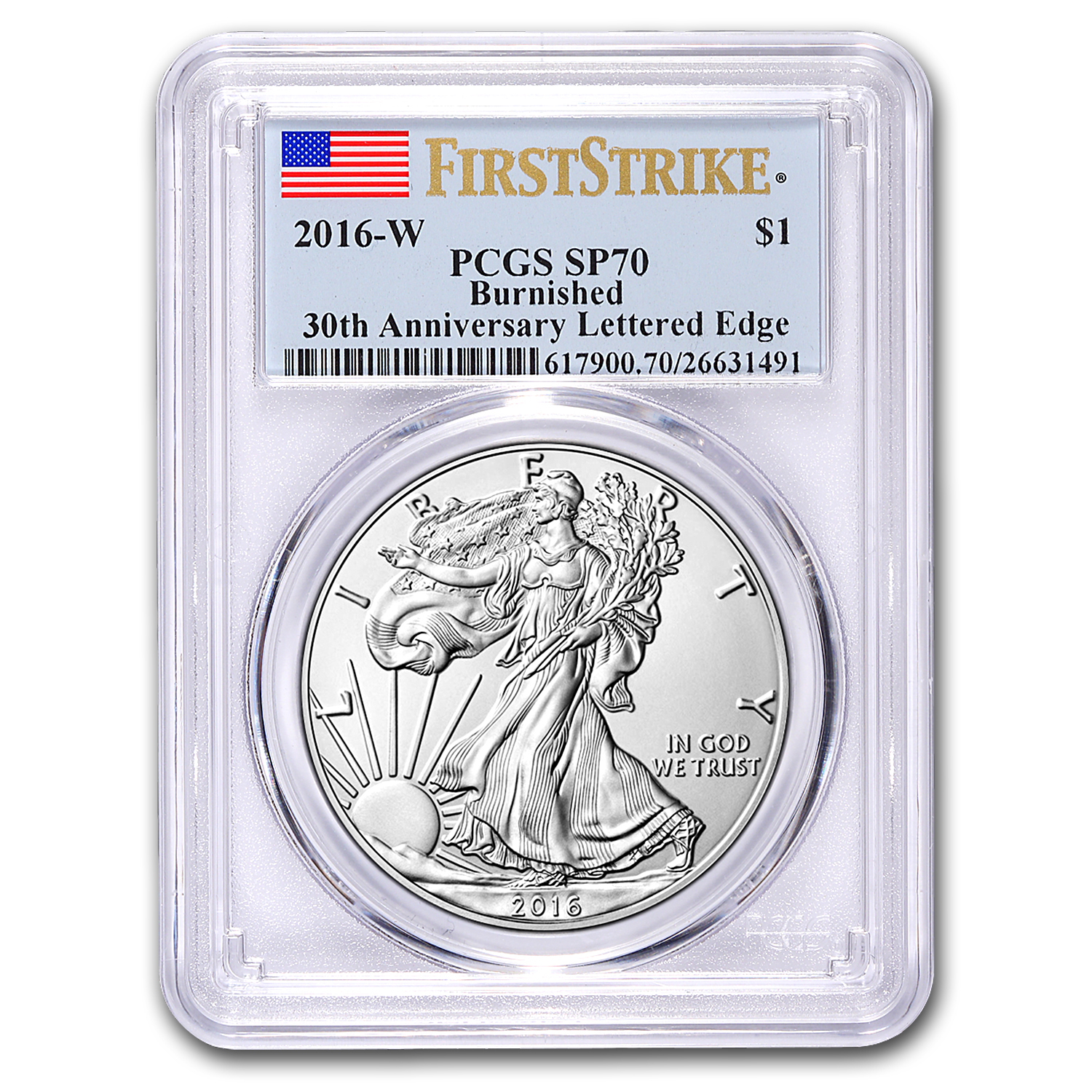 2016-W Burnished Silver American Eagle SP-70 PCGS (First Strike)