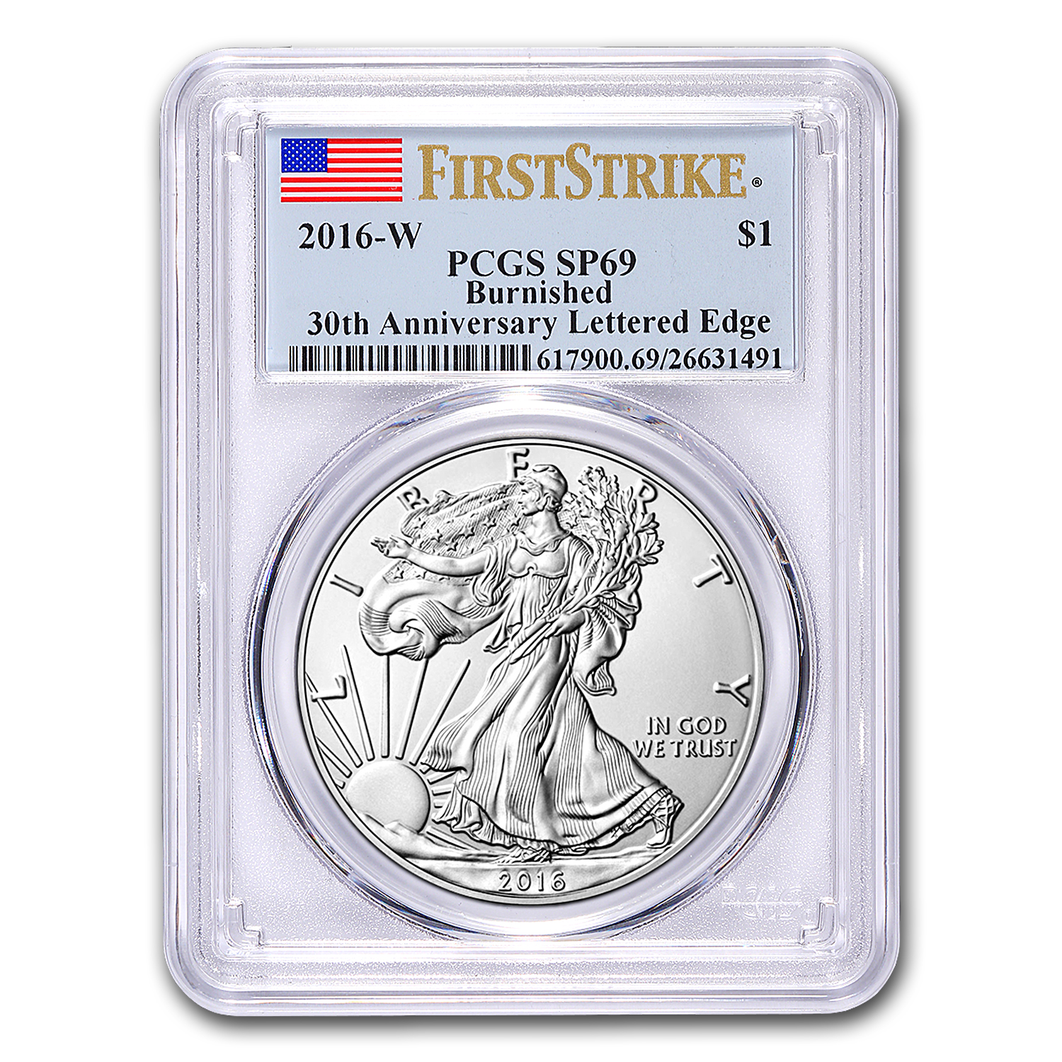 2016-W Burnished Silver American Eagle SP-69 PCGS (First Strike)