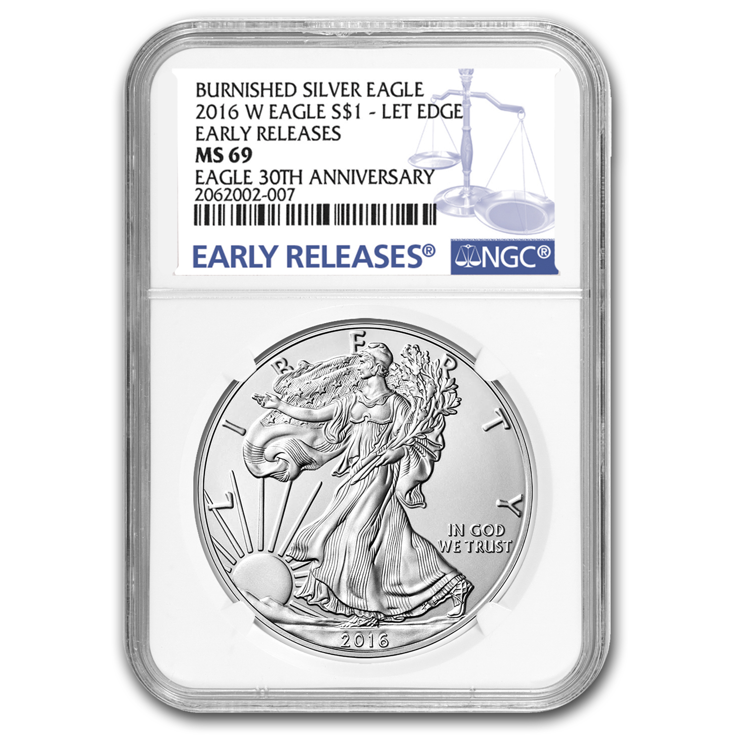 2016-W Burnished Silver Eagle MS-69 NGC (Early Releases)