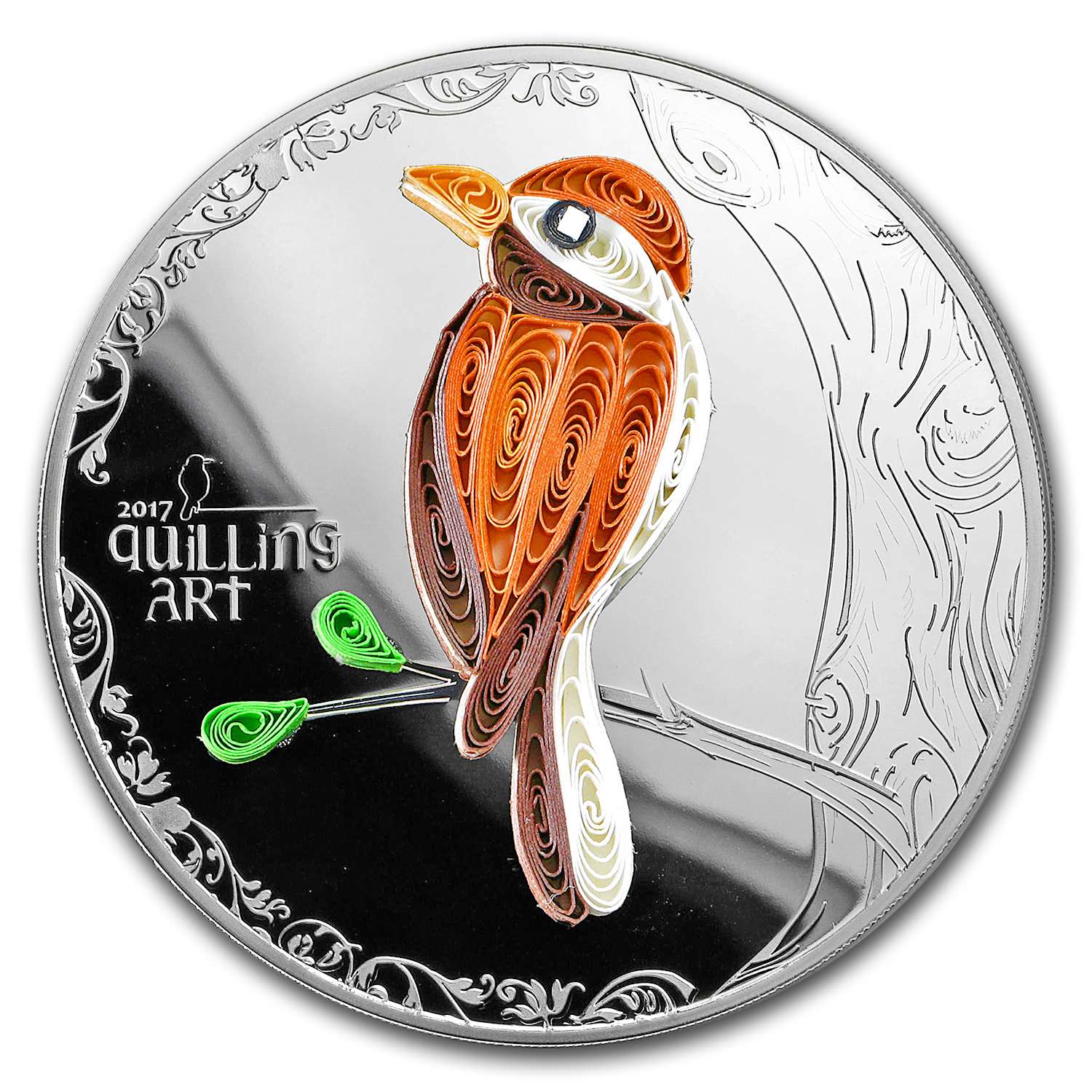 2017 Cook Islands Silver Quilling Art (Bird)