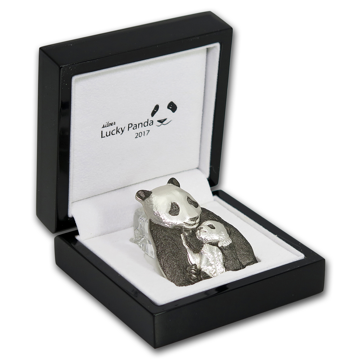 2017 Cook Islands 88 gram Silver Antique Finish Lucky Panda
