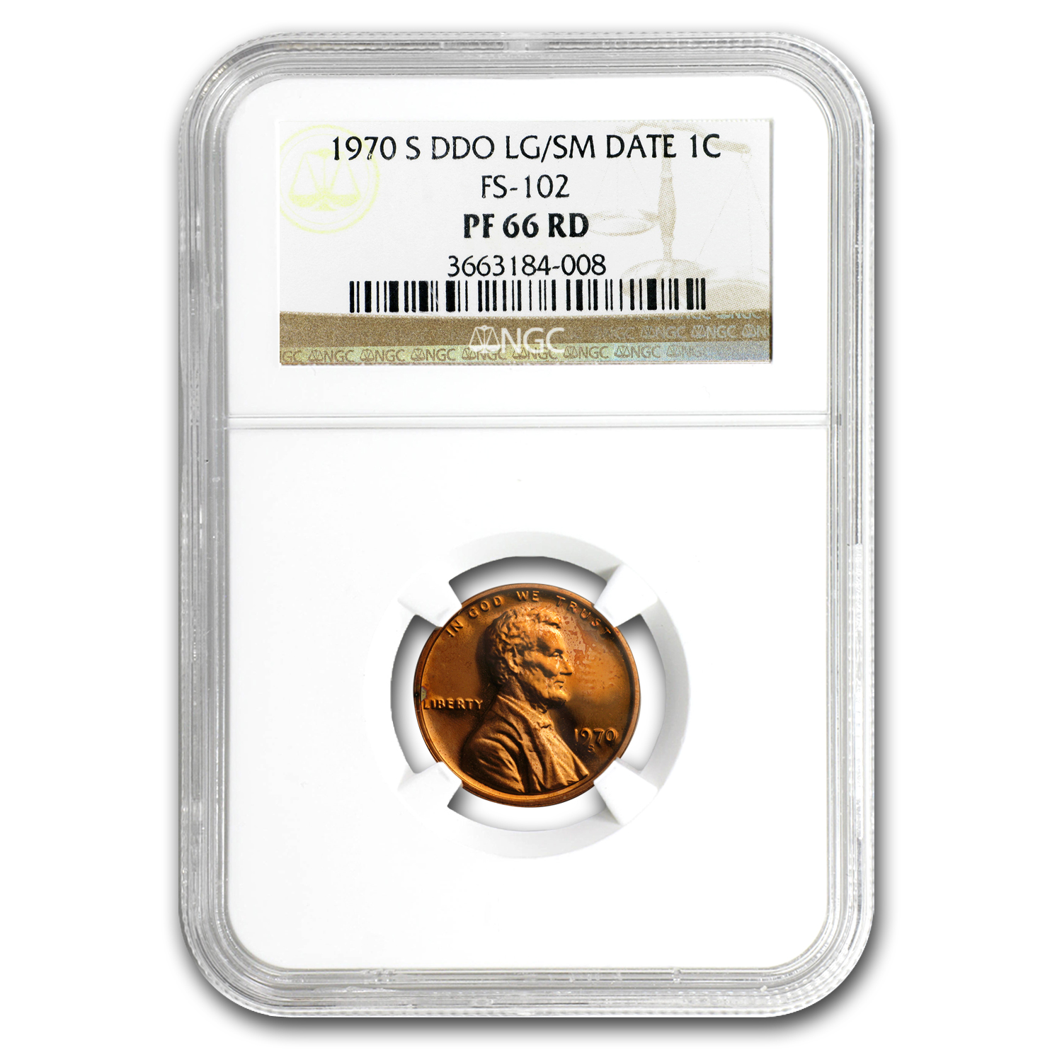 1970-S Lincoln Cent Large/Small Date PF-66 NGC (Red, DDO FS-102)