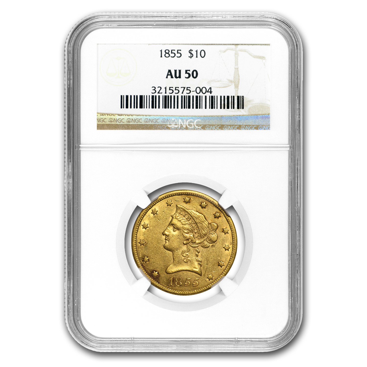 1855 $10 Liberty Gold Eagle AU-50 NGC