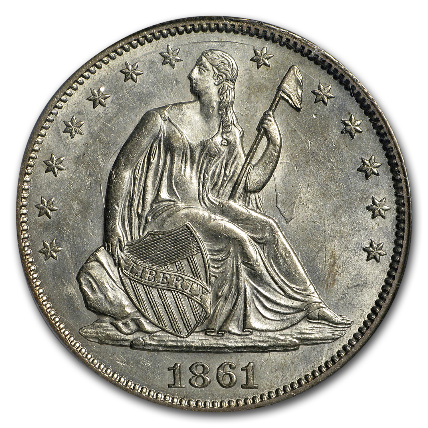 1861 Liberty Seated Half Dollar AU-58 PCGS