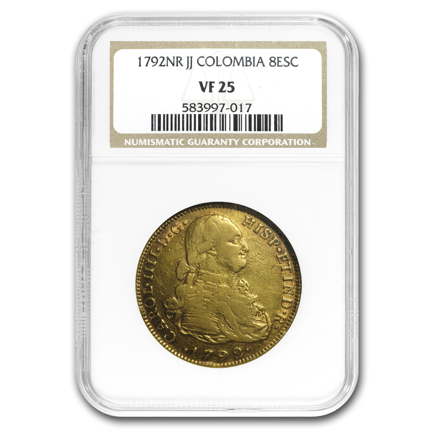1792-NR JJ Colombia Gold 8 Escudos Charles IV VF-25 NGC