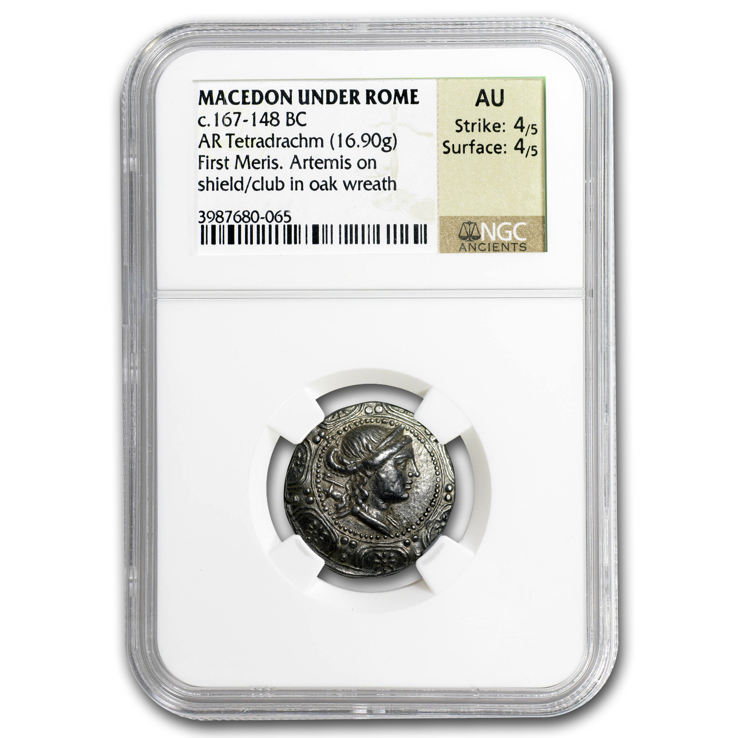 Macedon Under Rome Silver Tetradrachm (167-148 BC) AU NGC