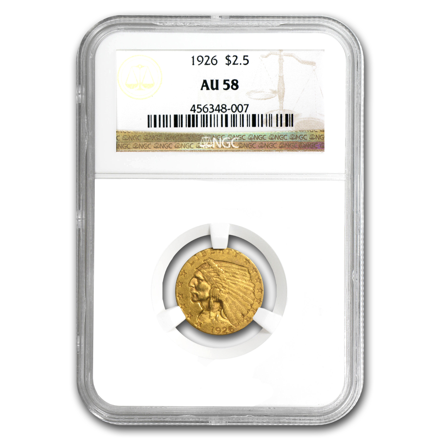 1926 $2.50 Indian Gold Quarter Eagle - AU-58 NGC