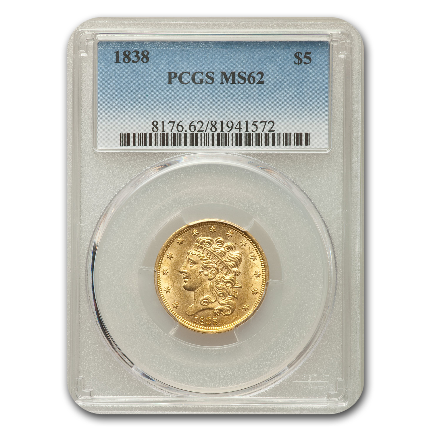 1838 $5 Gold Classic Head Half Eagle MS-62 PCGS