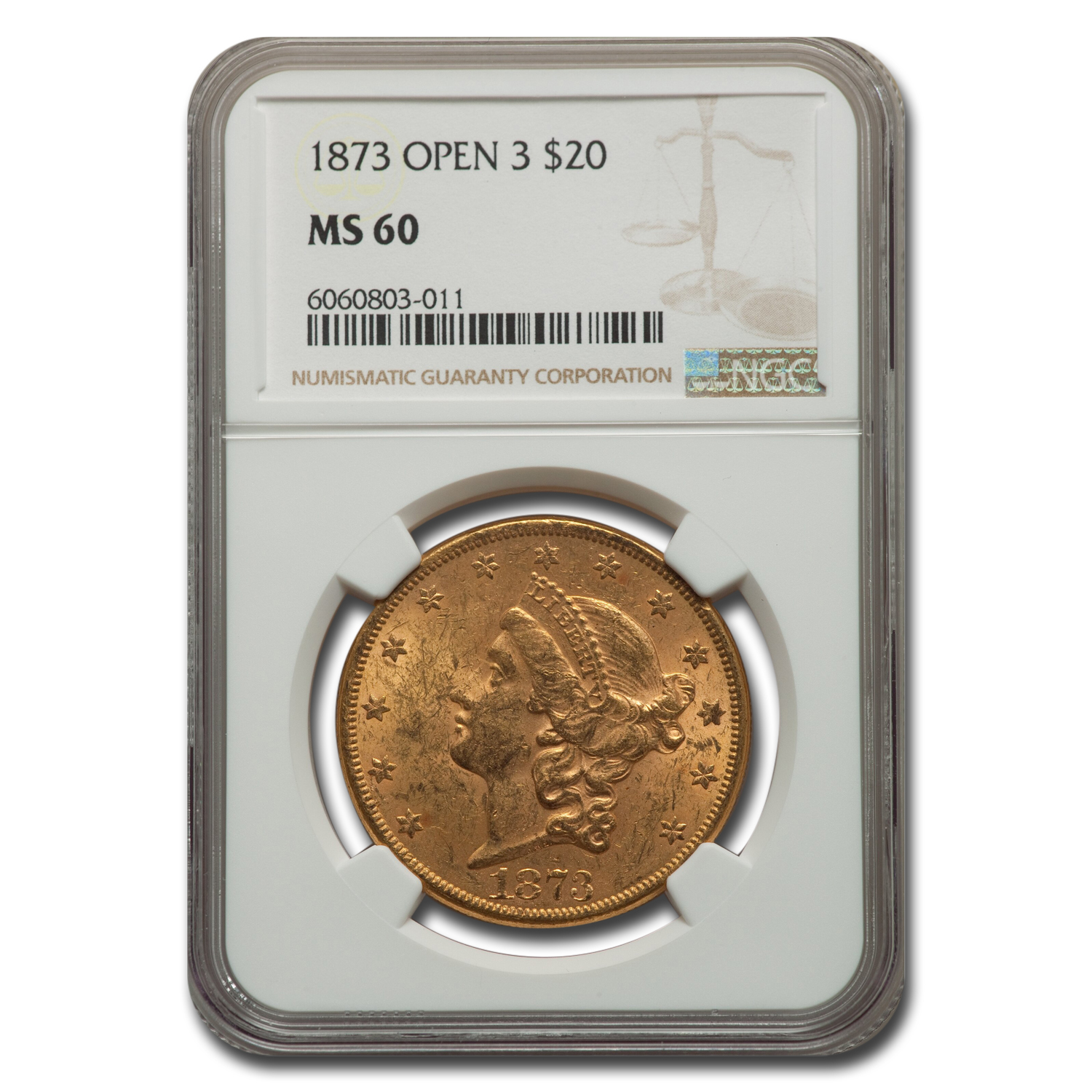 1873 $20 Liberty Gold Double Eagle MS-60 NGC (Open 3)