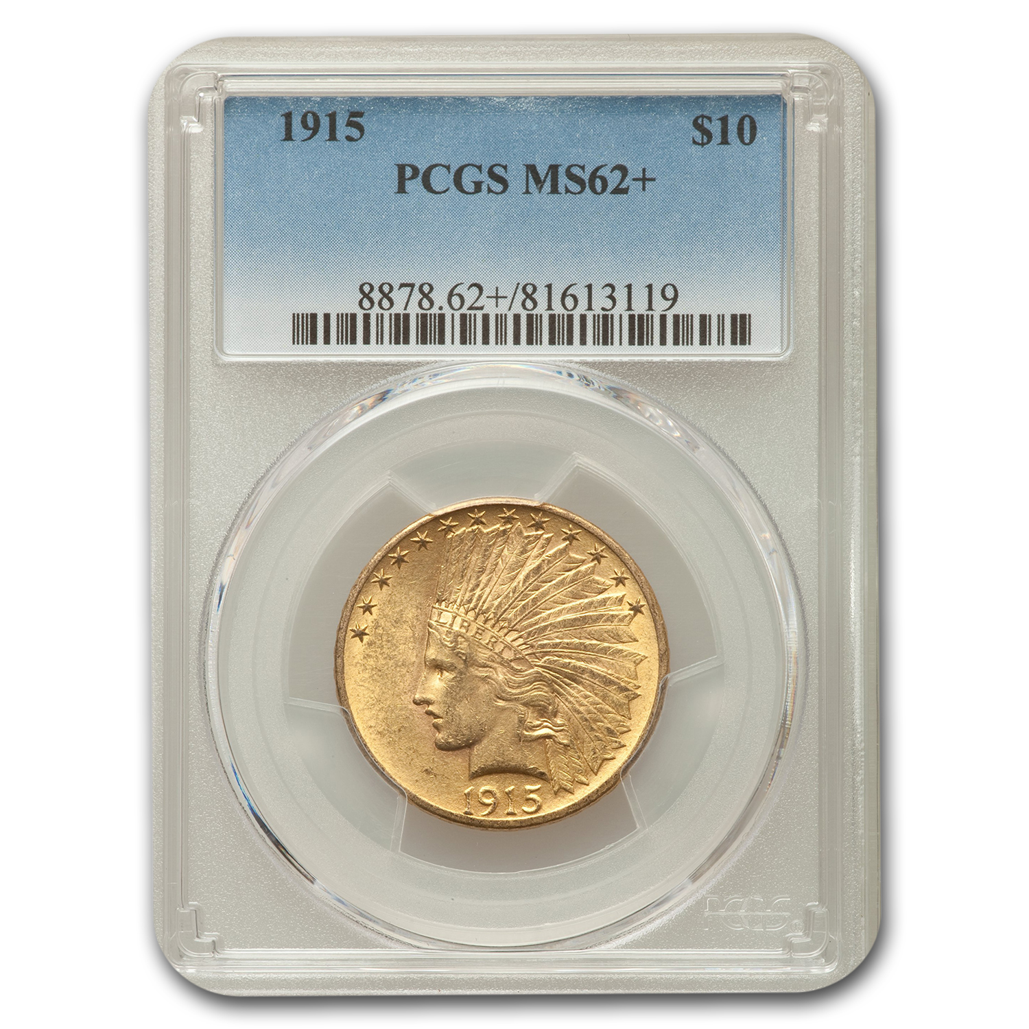 1915 $10 Indian Gold Eagle MS-62+ PCGS