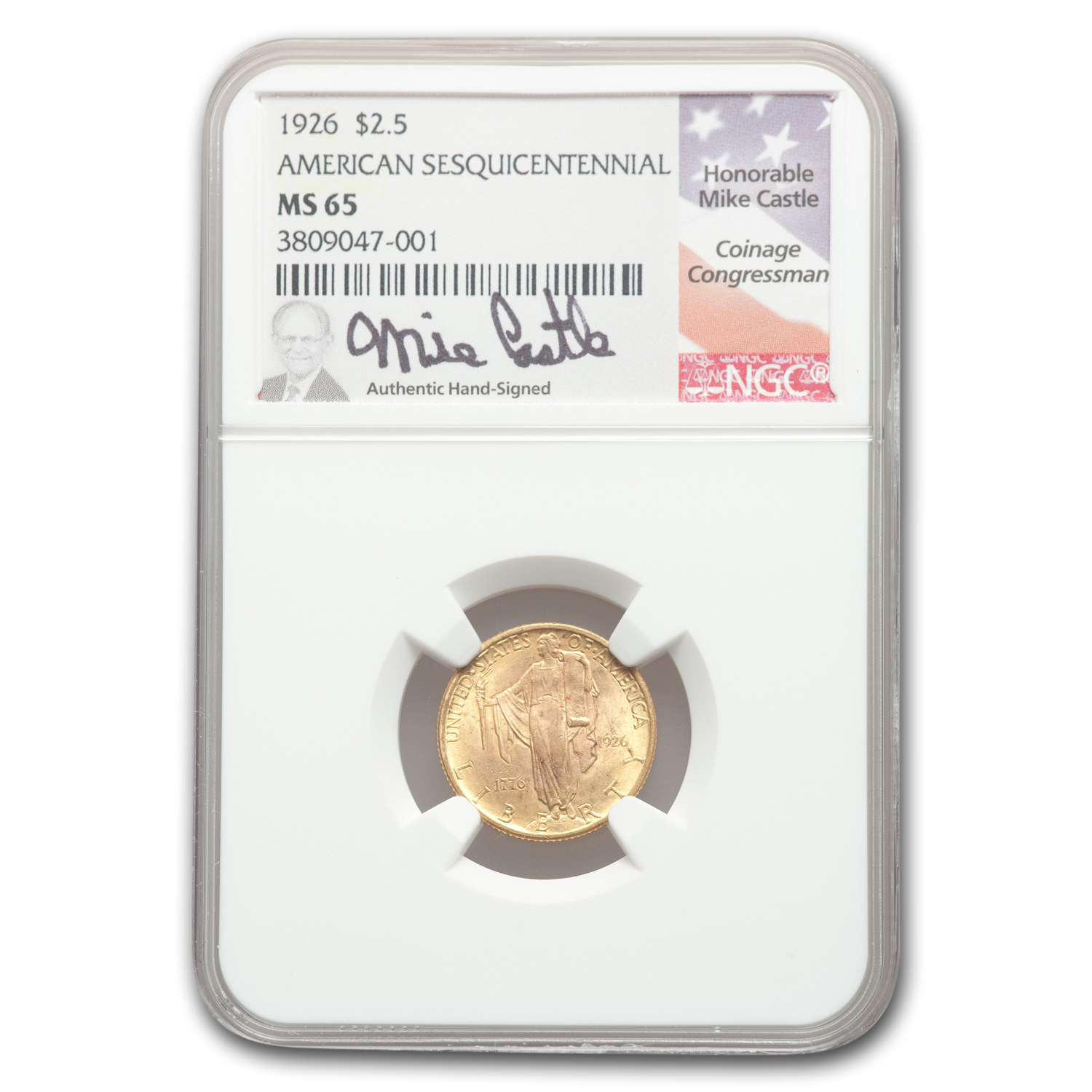 1926 Gold $2.50 America Sesquicentennial MS-65 NGC