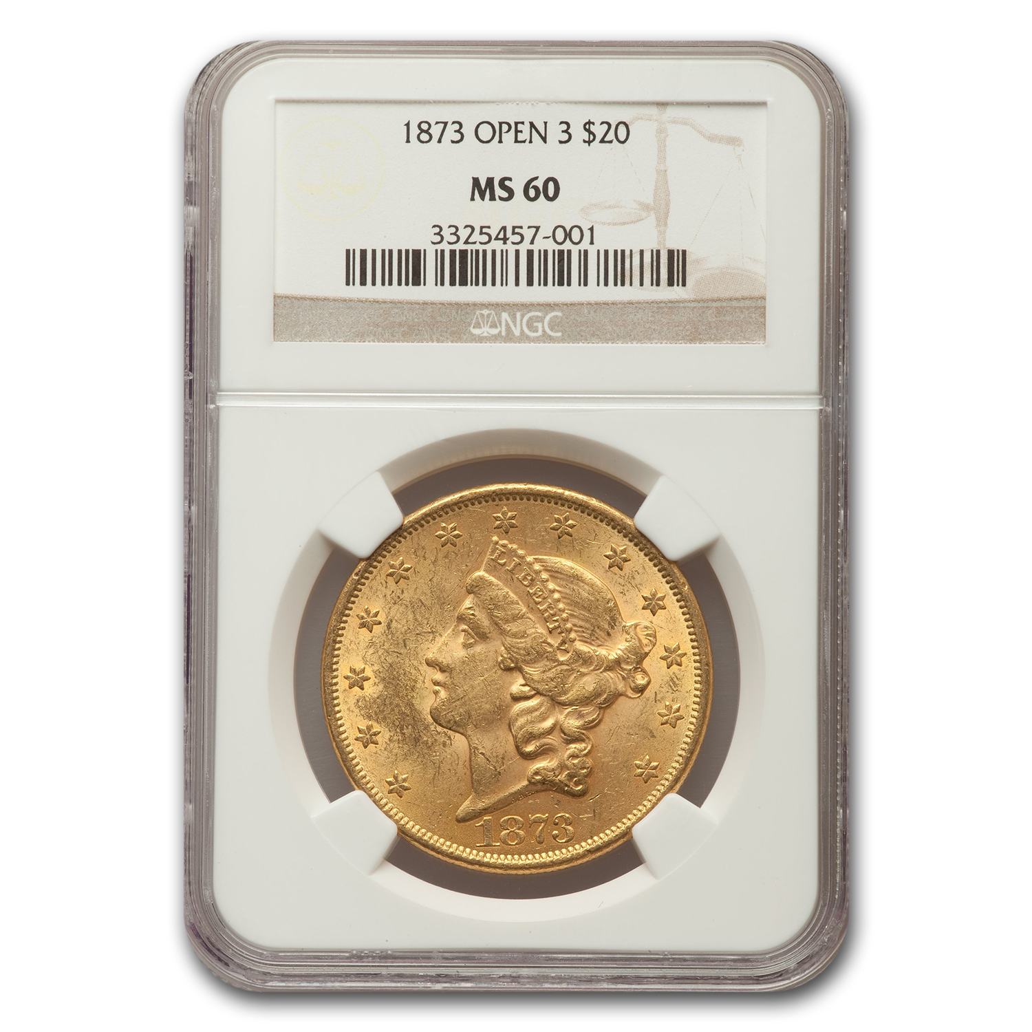 1873 $20 Liberty Gold Double Eagle MS-60 NGC