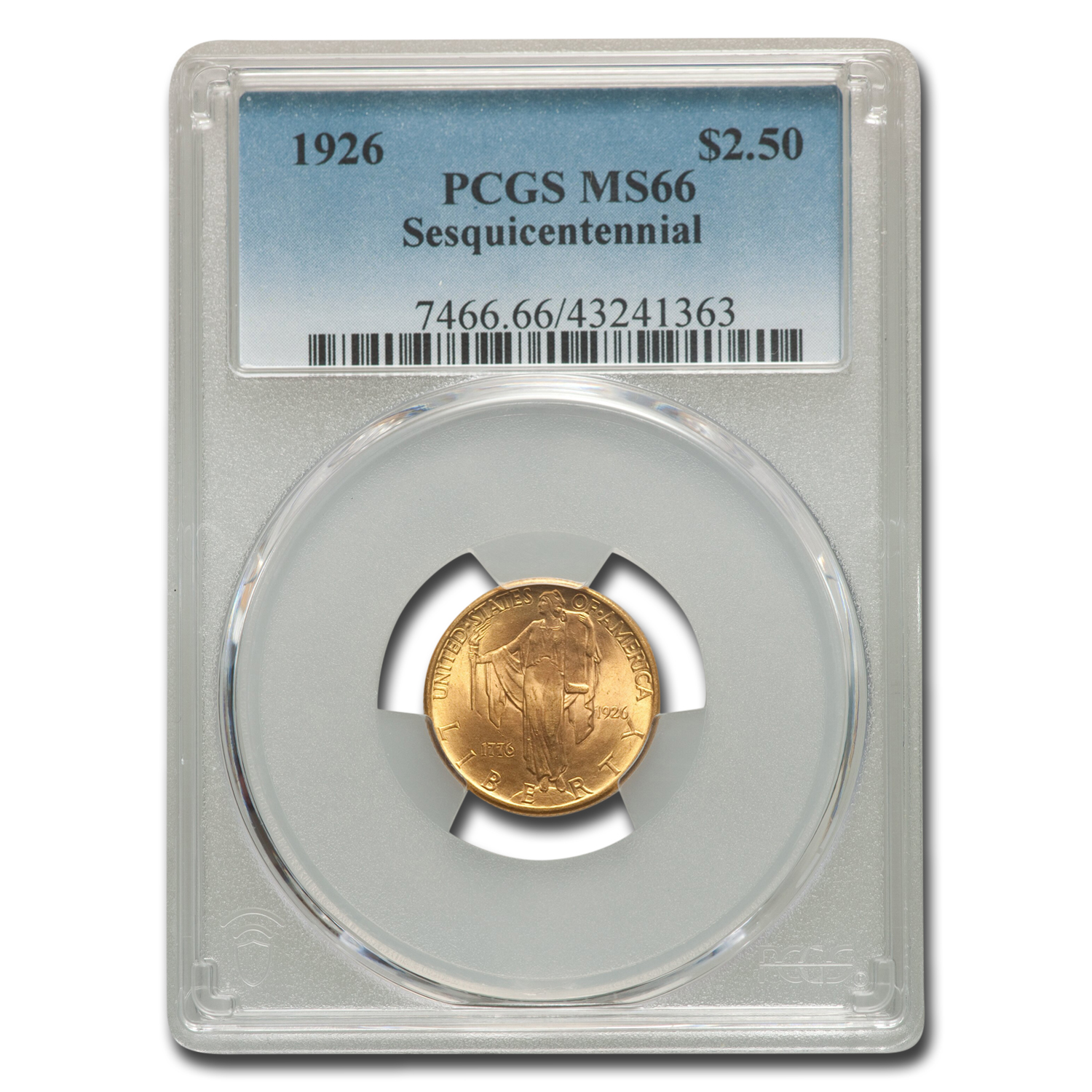 1926 Gold $2.50 America Sesquicentennial MS-66 PCGS