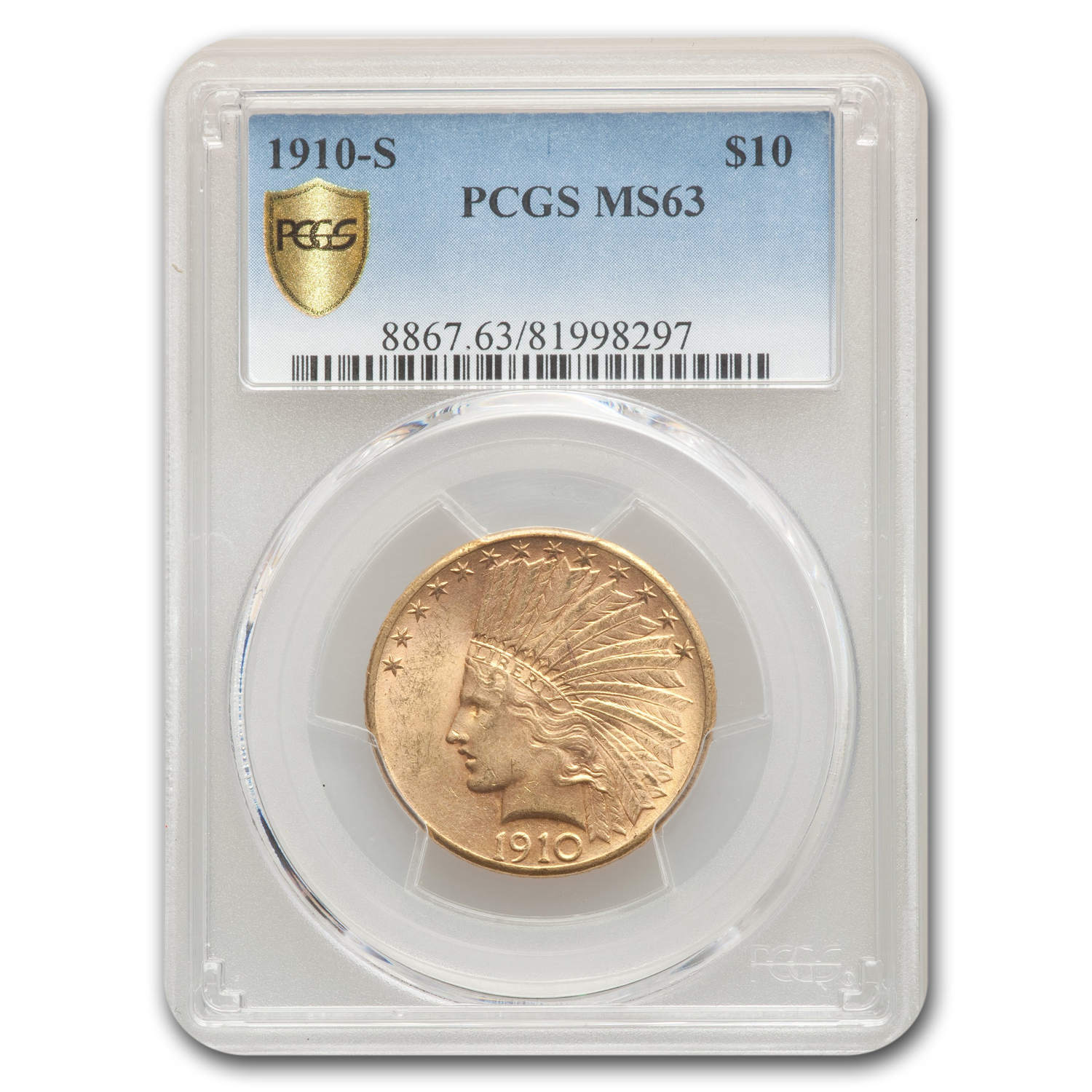 1910-S $10 Indian Gold Eagle MS-63 PCGS