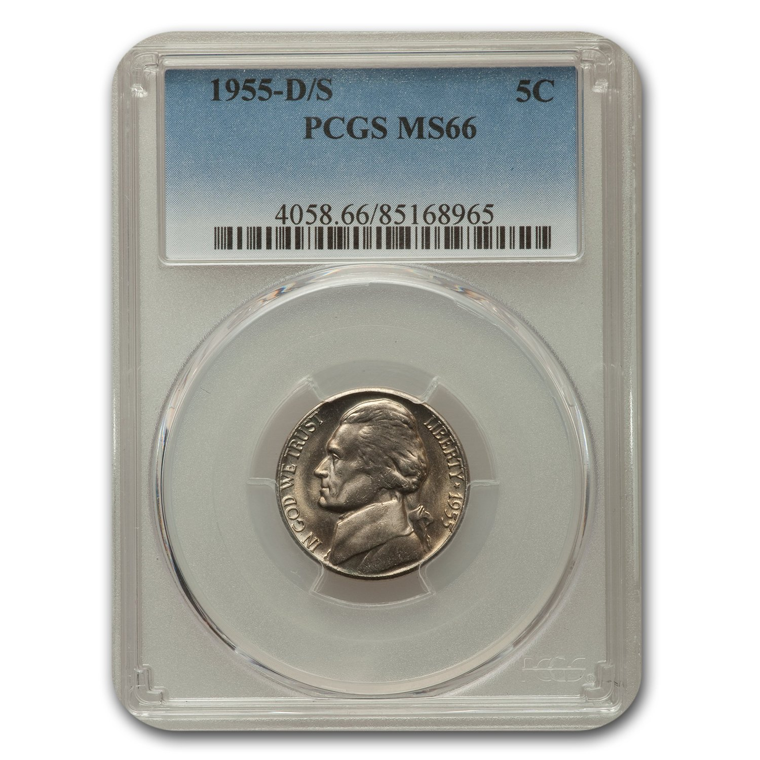 1955-D/S Jefferson Nickel MS-66 PCGS