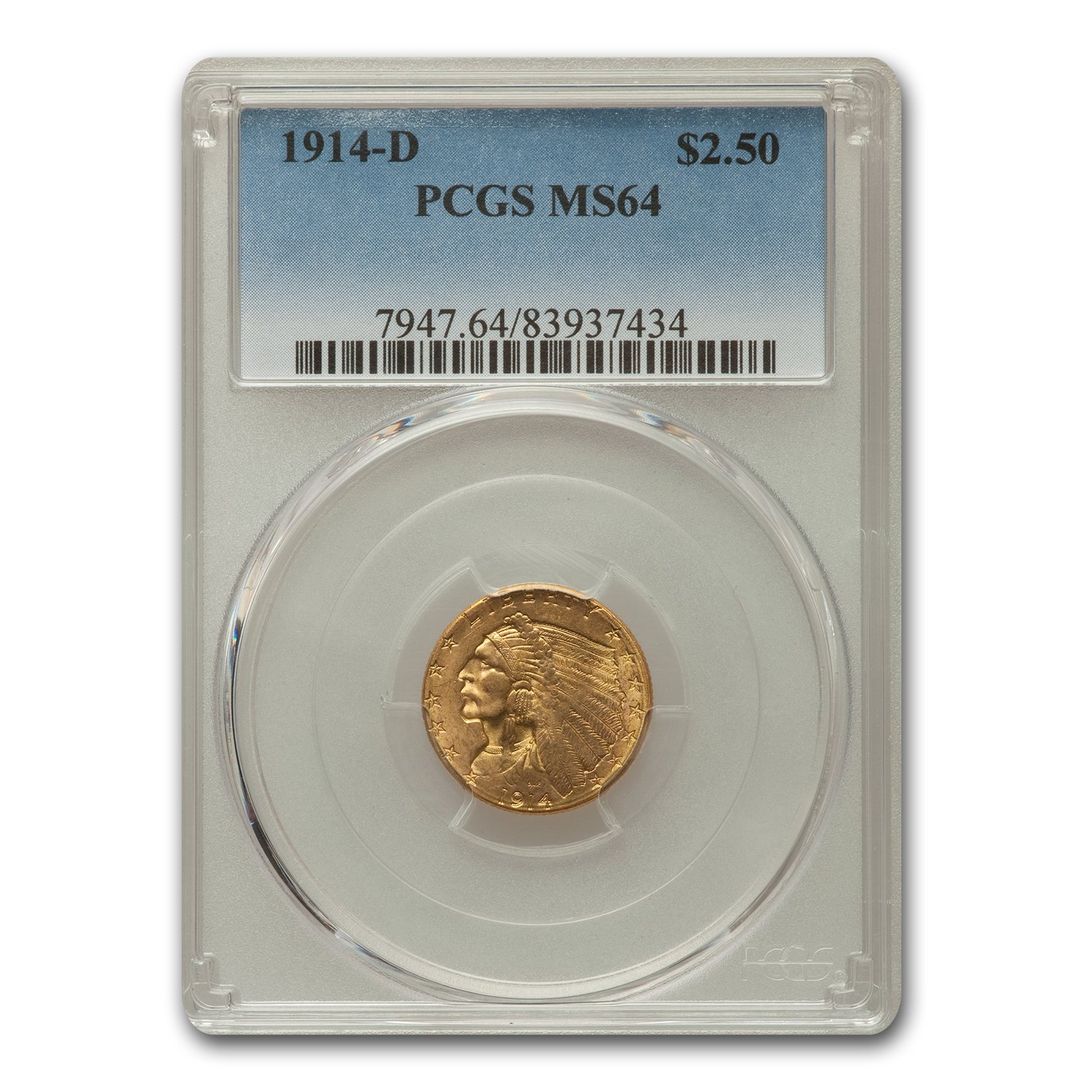 1914-D $2.50 Indian Head Gold Quarter Eagle MS-64 PCGS