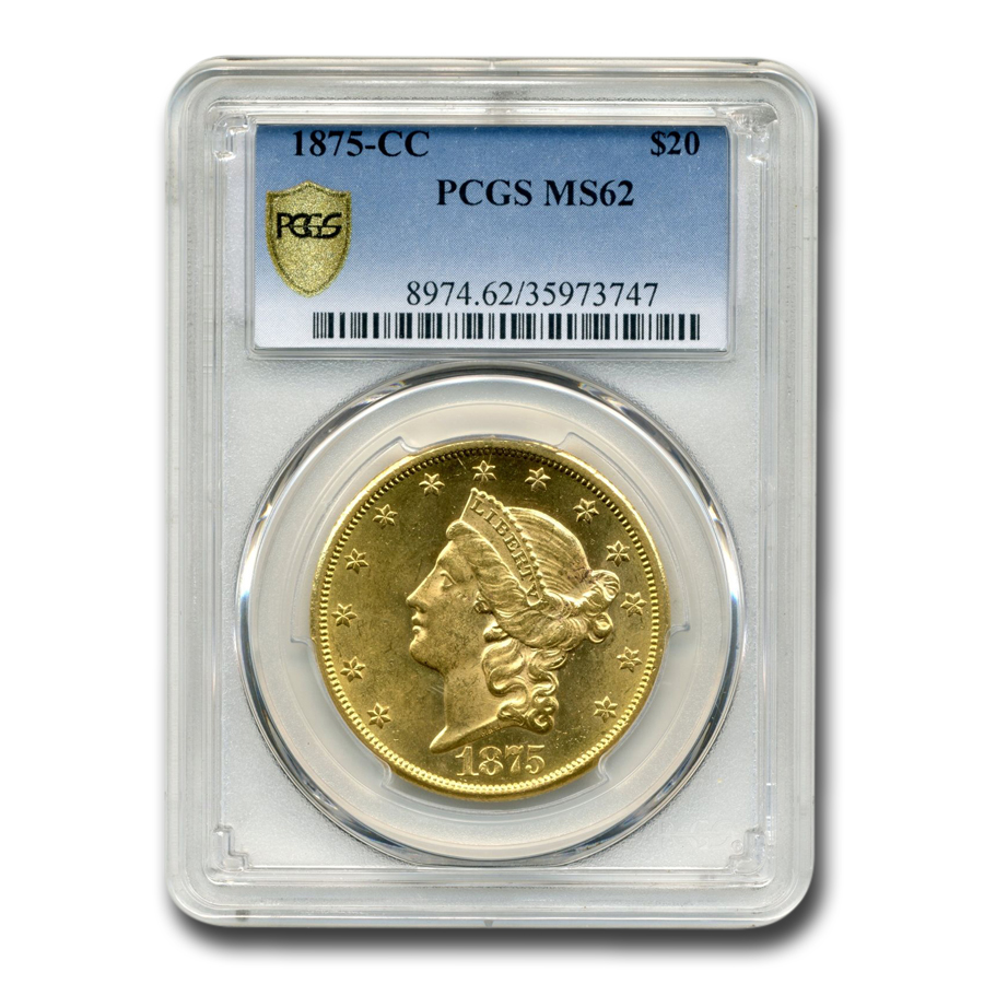 1875 $20 Liberty Double Eagle MS-62 PCGS
