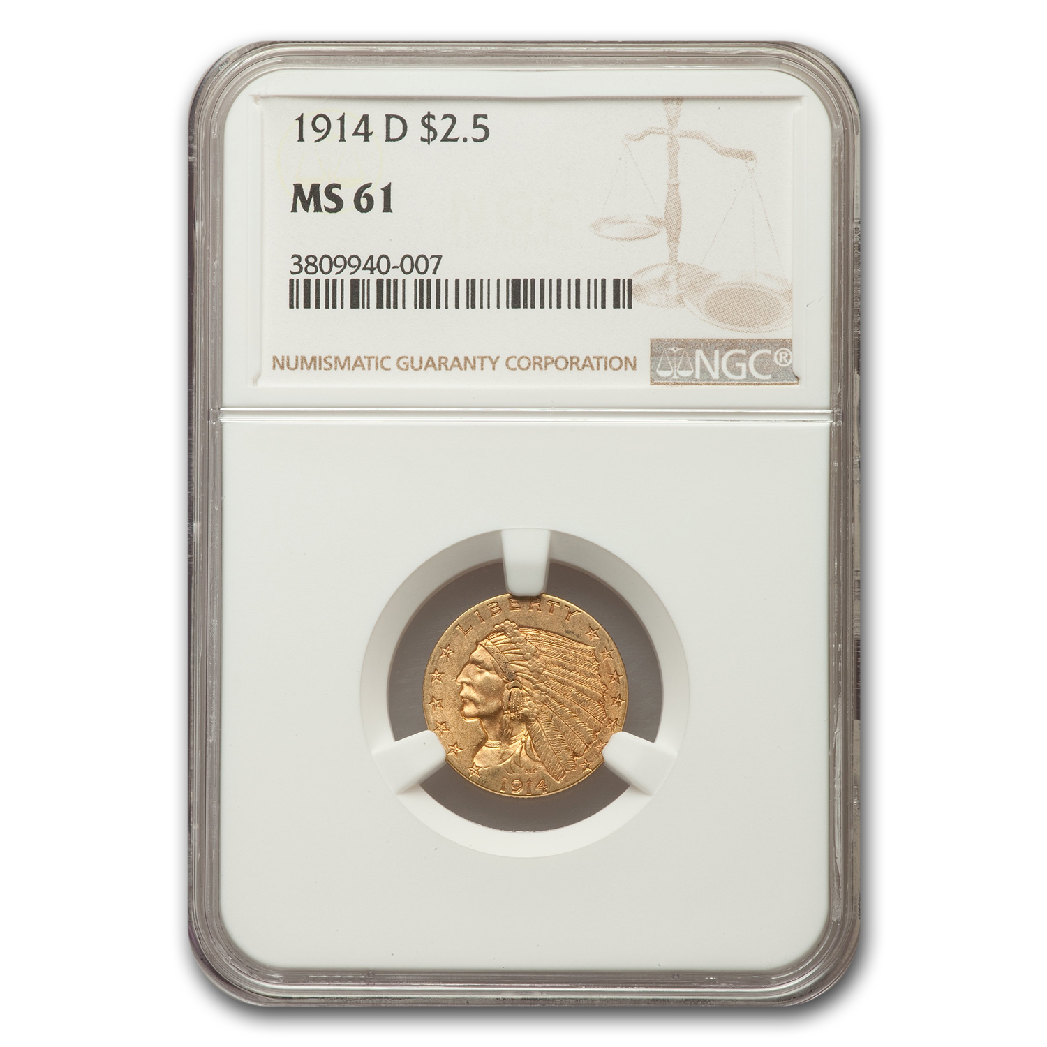 1914-D $2.5 Indian Quarter Eagle MS-61 NGC