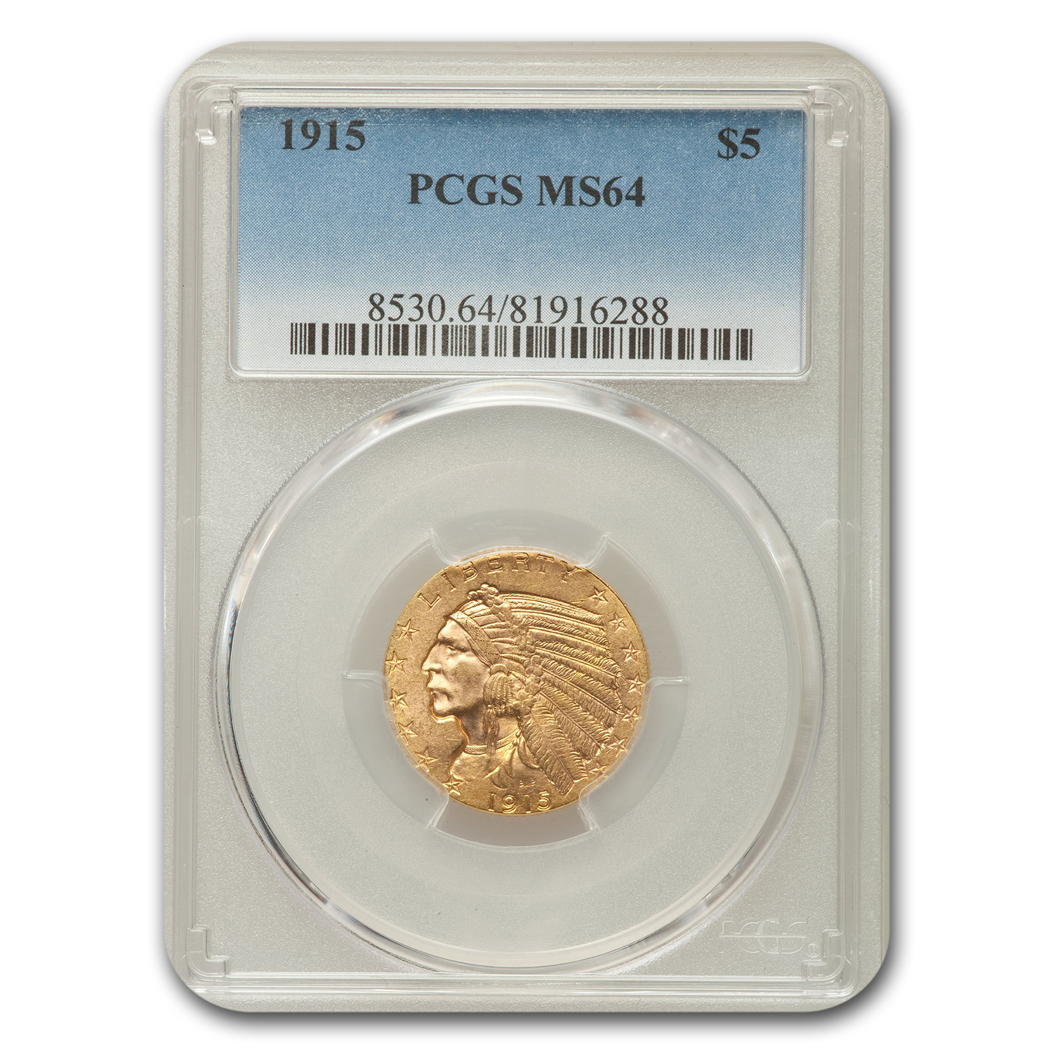1915 $5 Indian Half Eagle MS-64 PCGS