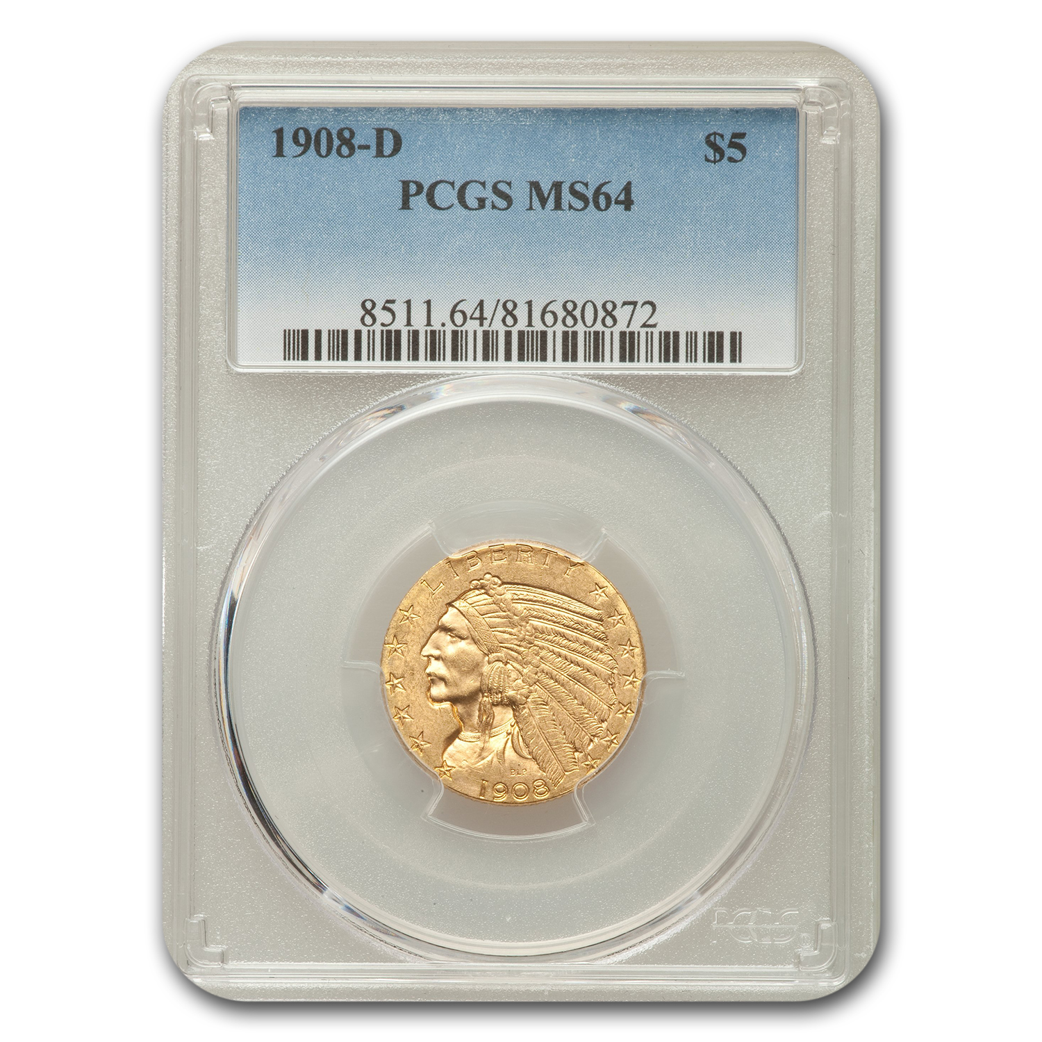 1908-D $5 Indian Half Eagle MS-64 PCGS