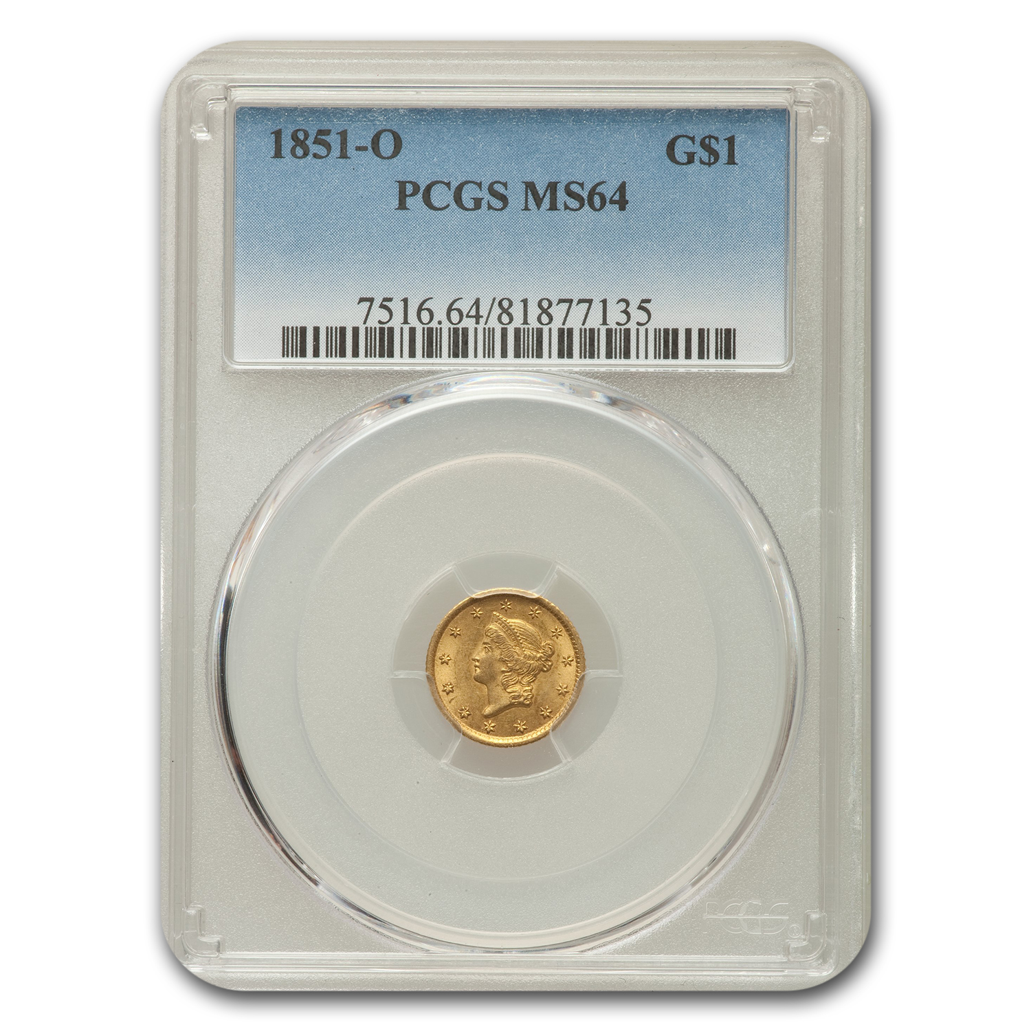 1851 G$1 Gold Dollar MS-64 PCGS