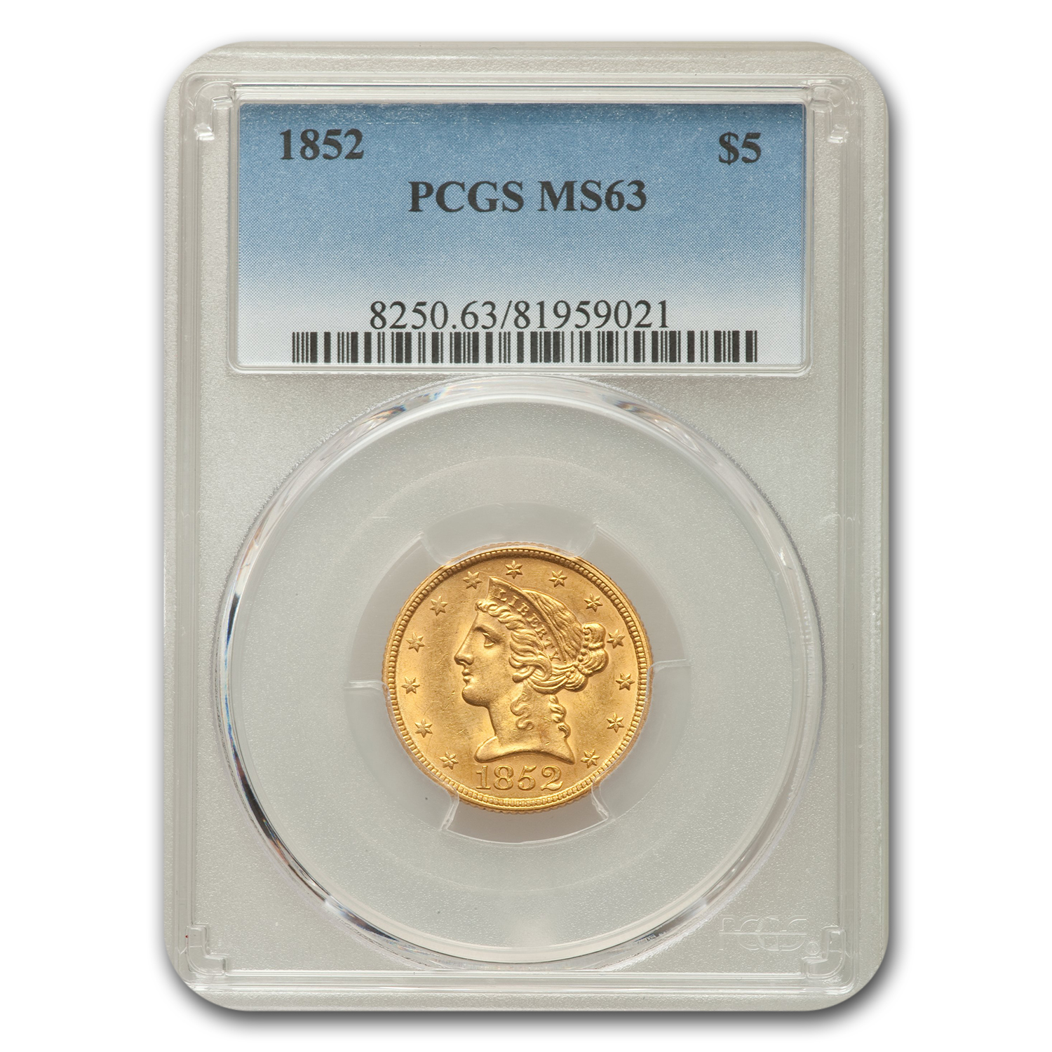1852 $5 Liberty Half Eagle MS-63 PCGS