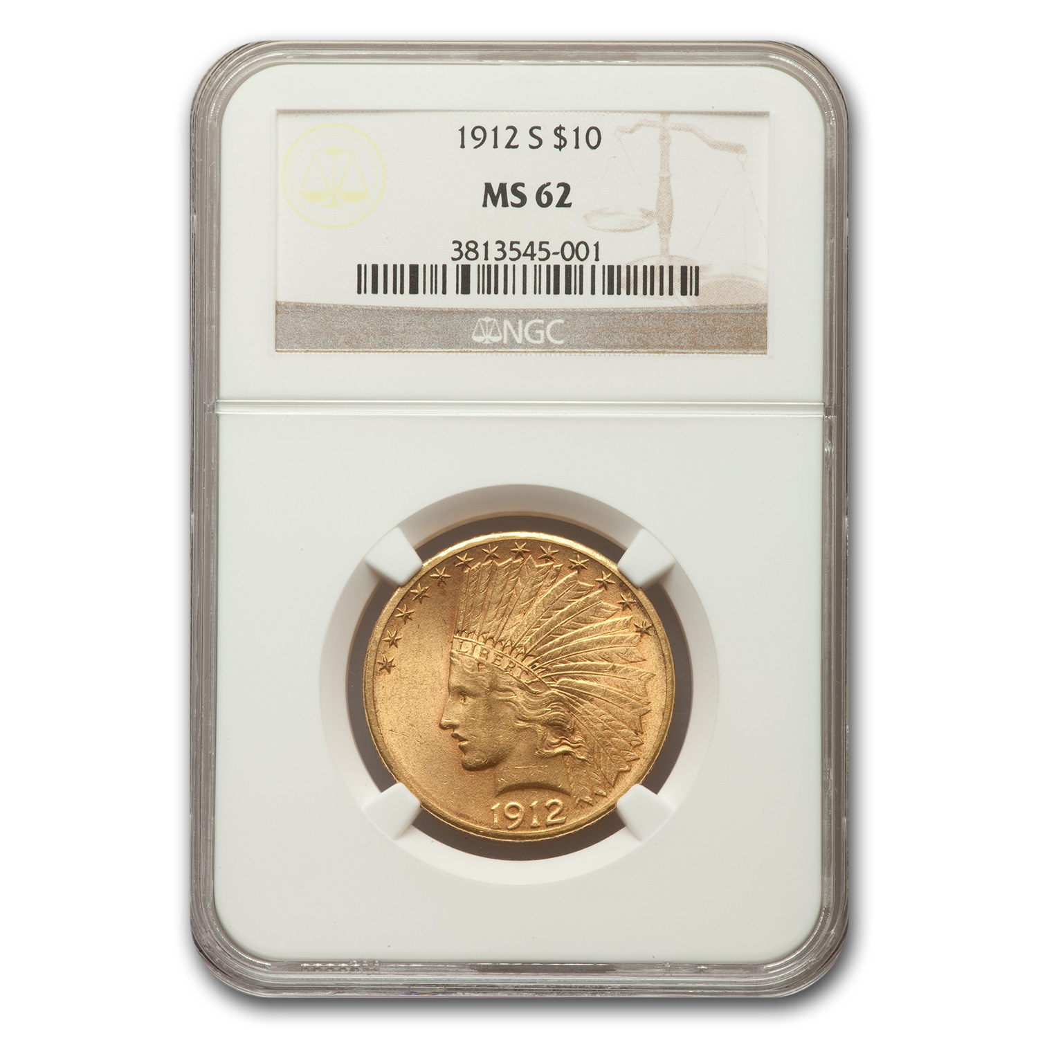 1912-S $10 Indian Gold Eagle MS-62 NGC