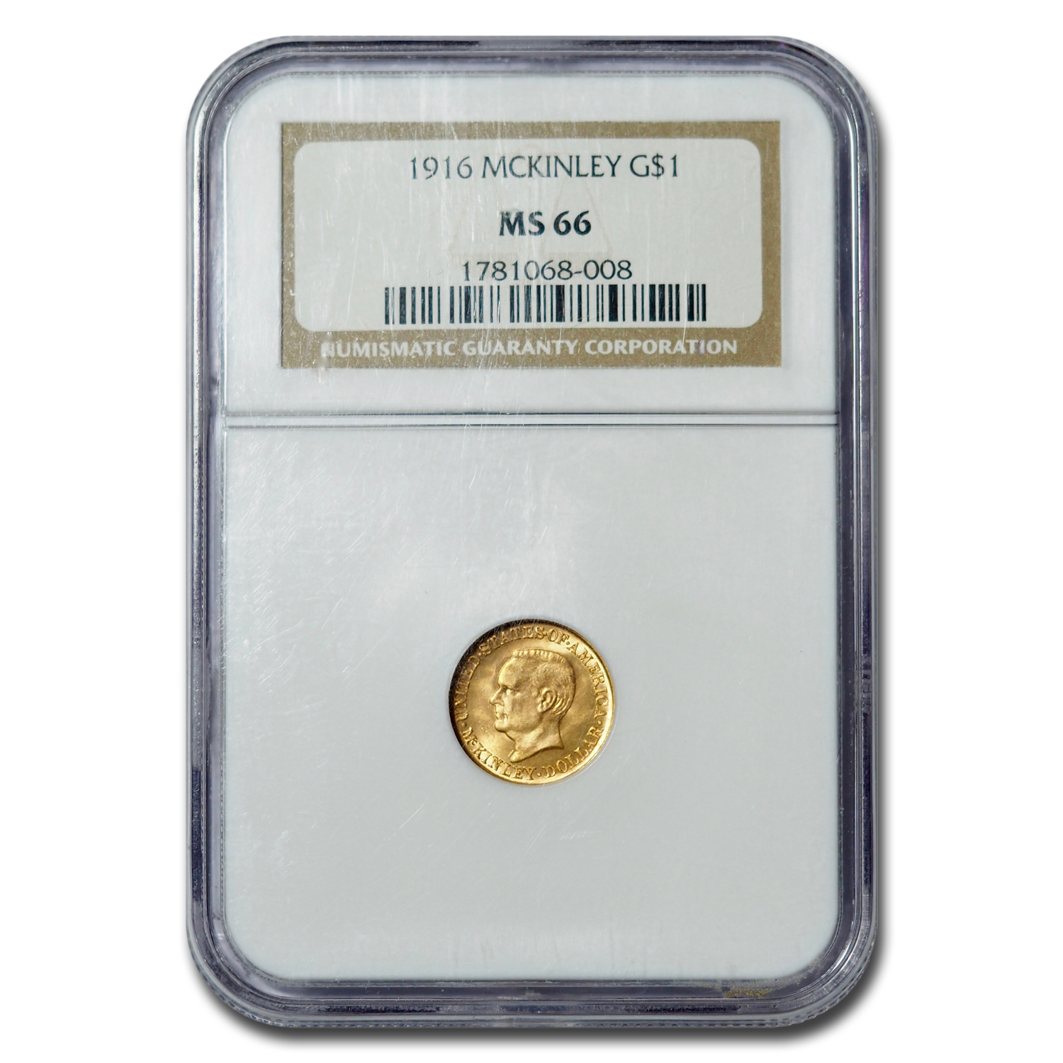 1916 Gold $1.00 McKinley Commemorative MS-66 NGC