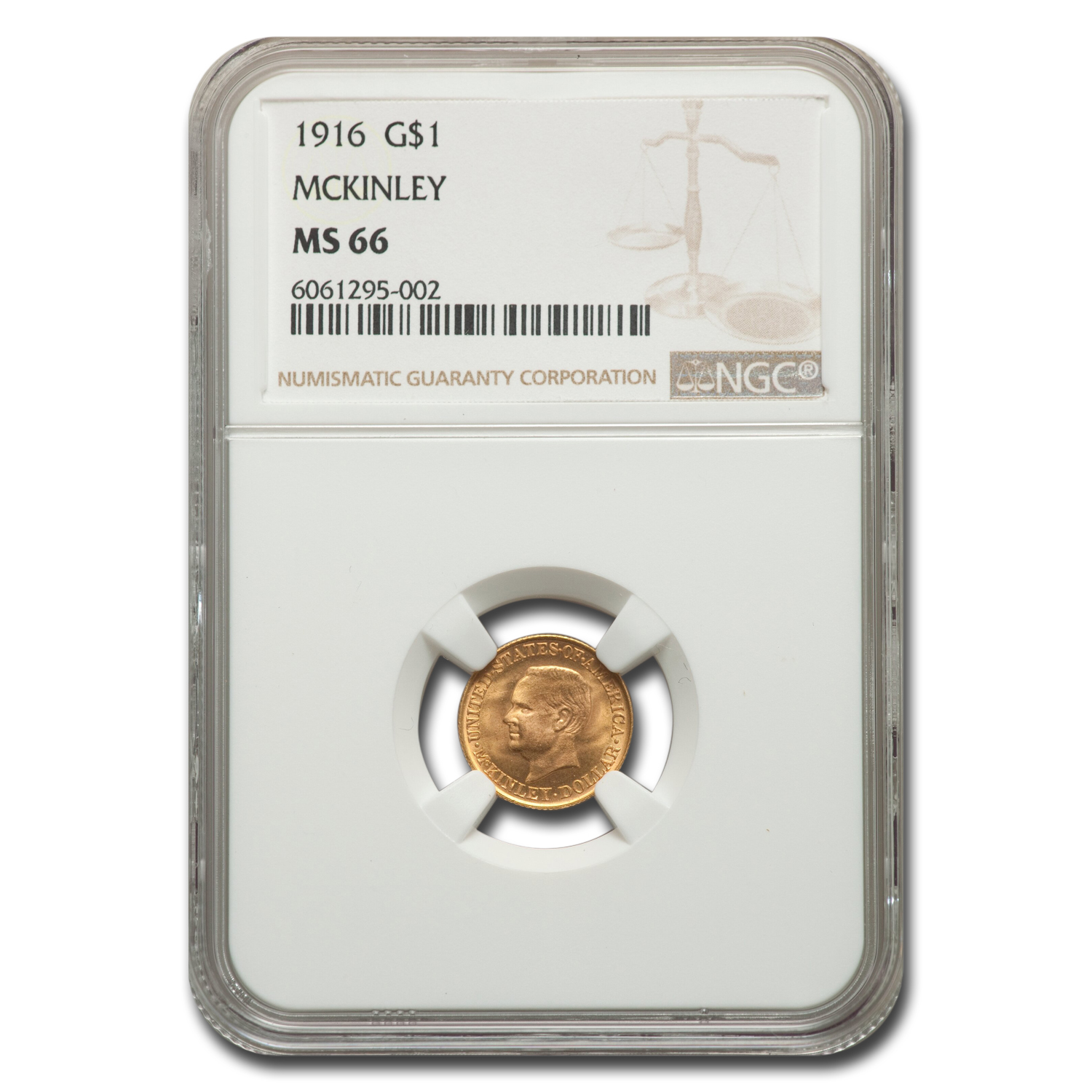 1916 Gold $1 McKinley Commemorative MS-66 NGC