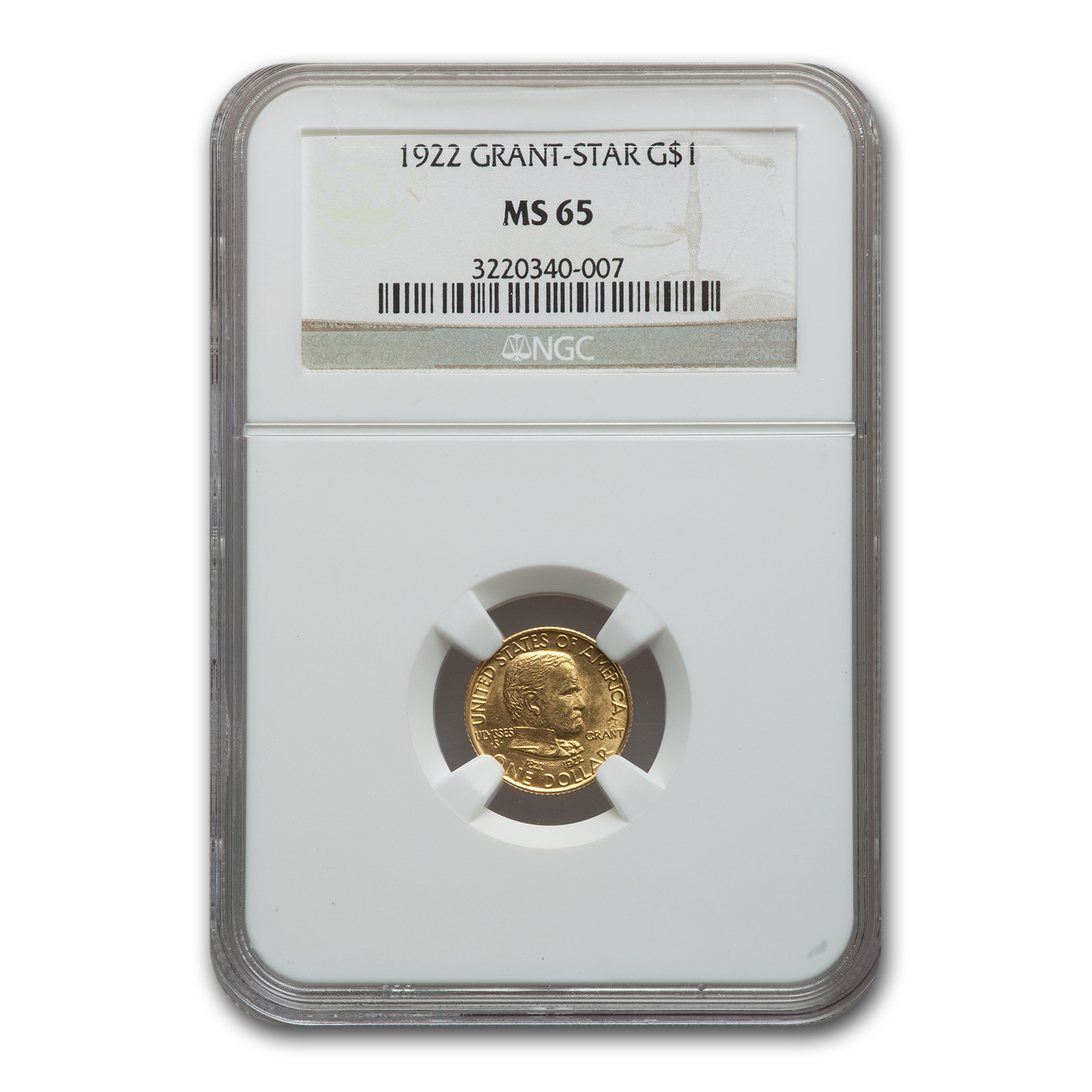 1922 Gold $1.00 Grant MS-65 NGC