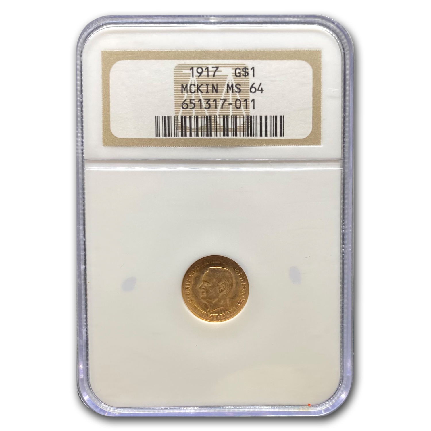 1917 Gold $1 McKinley Commemorative MS-64 NGC