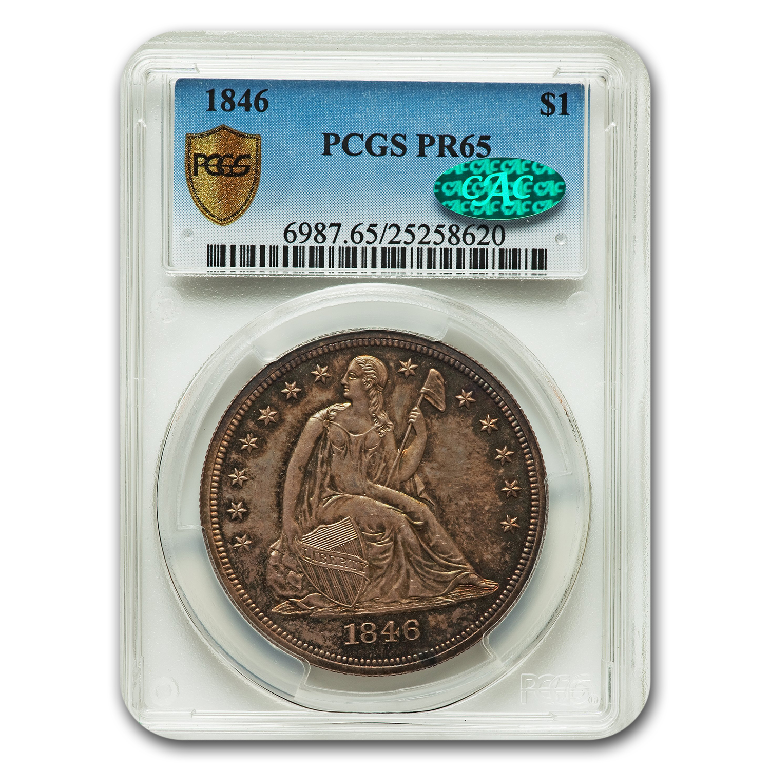1846 Seated Liberty Dollar PR-65 PCGS CAC