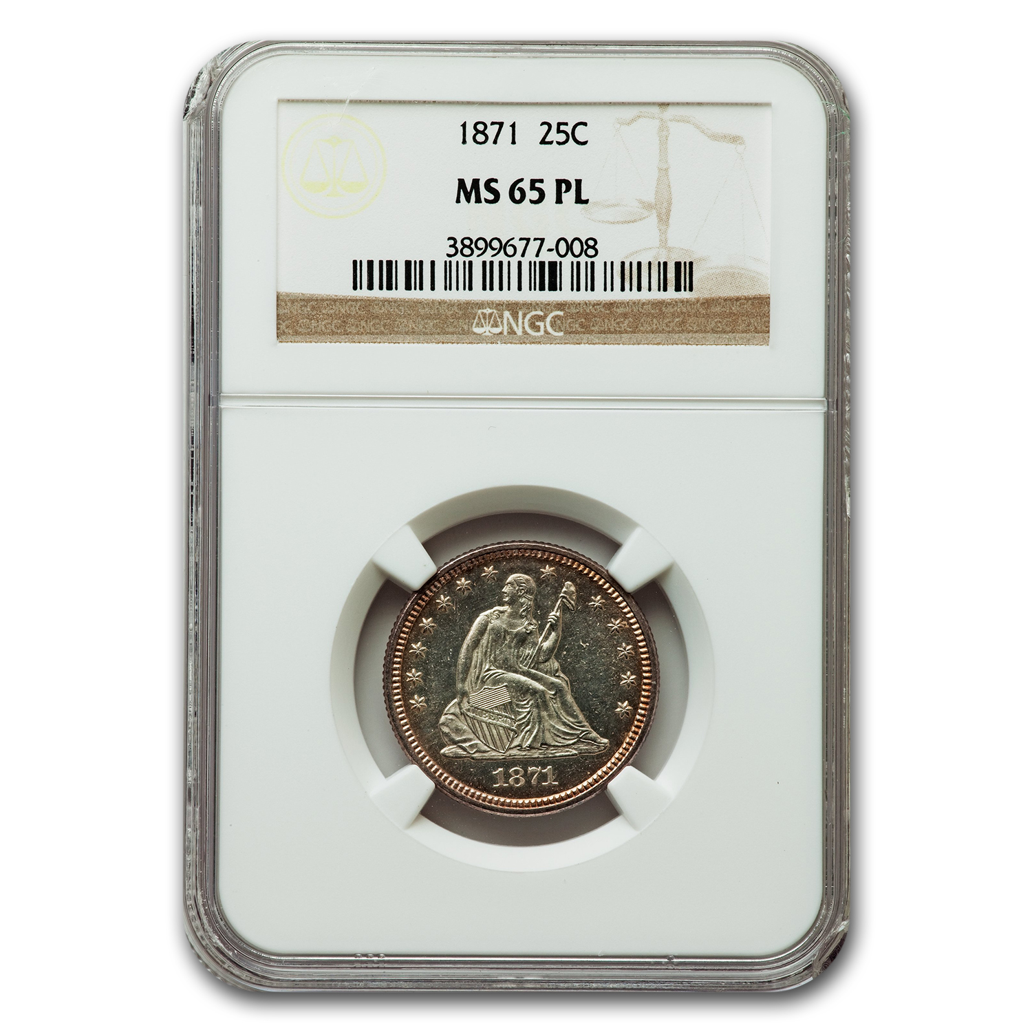 1871 Seated Quarter MS-65 PL NGC