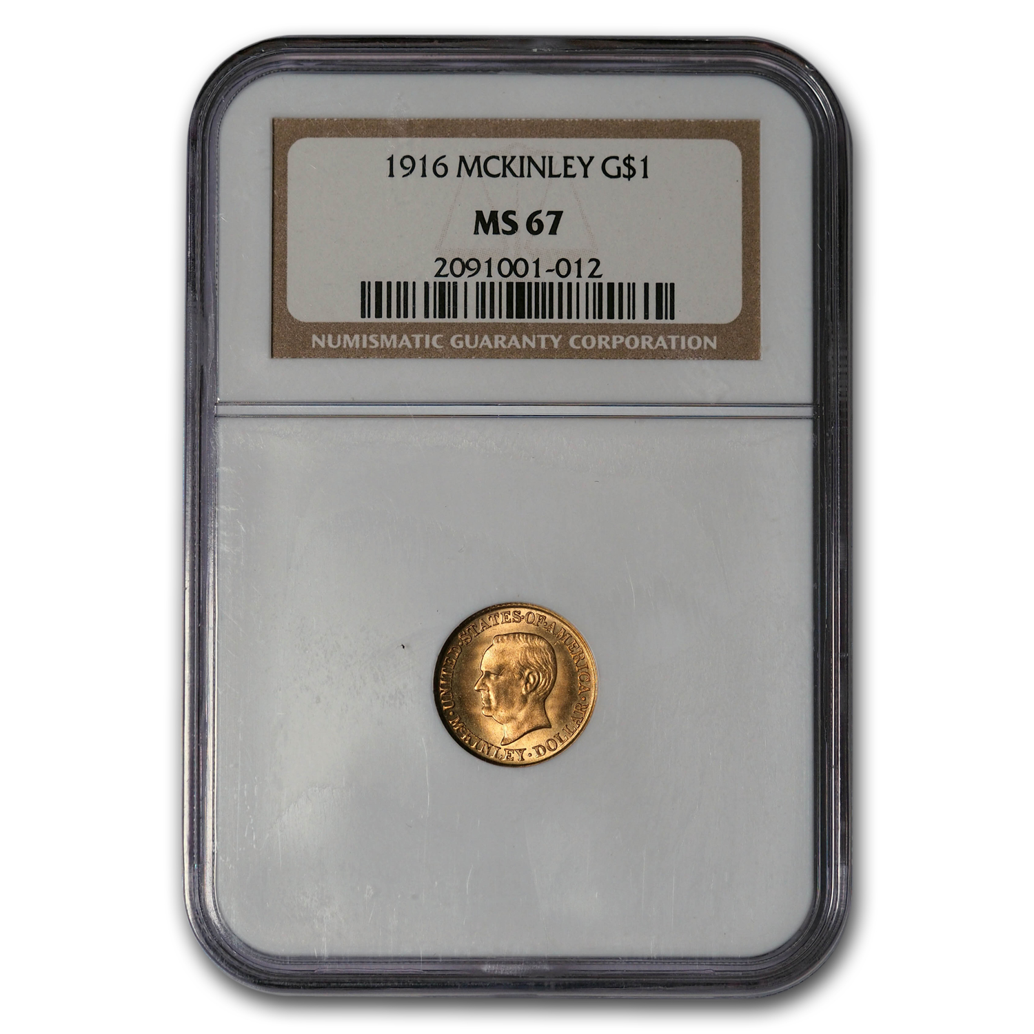 1916 Gold $1.00 McKinley MS-67 NGC