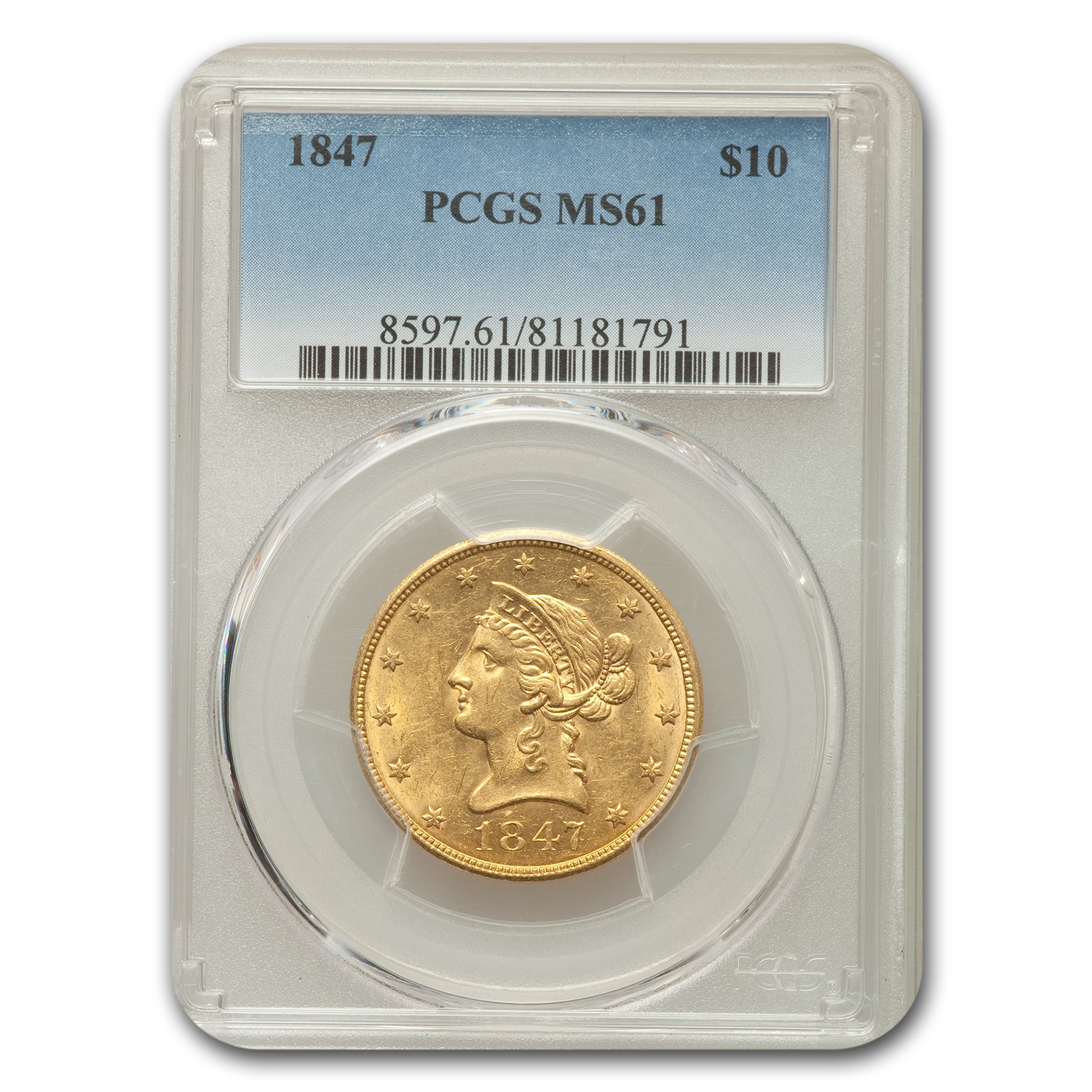 1847 $10 Liberty Eagle MS-61 PCGS