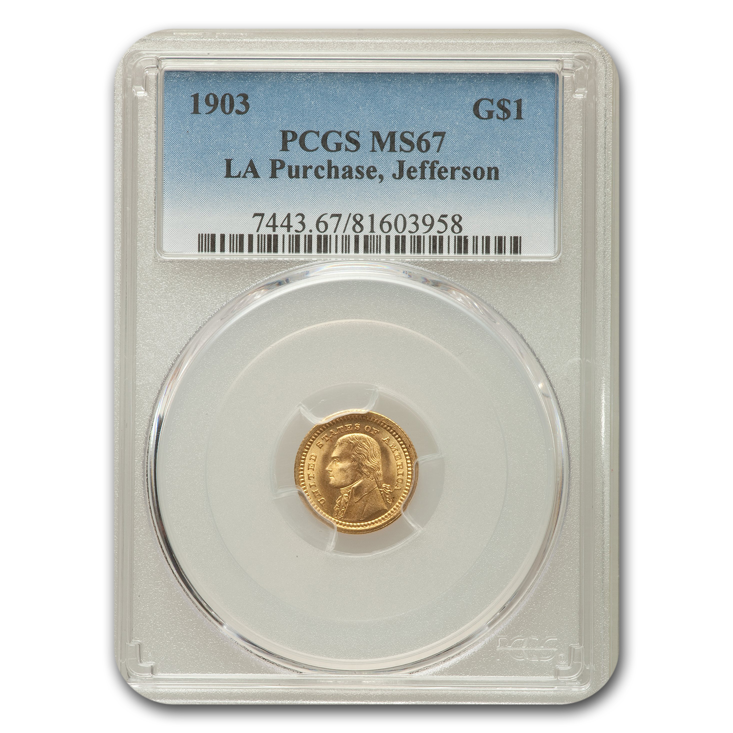1903 Gold $1.00 Jefferson MS-67 PCGS