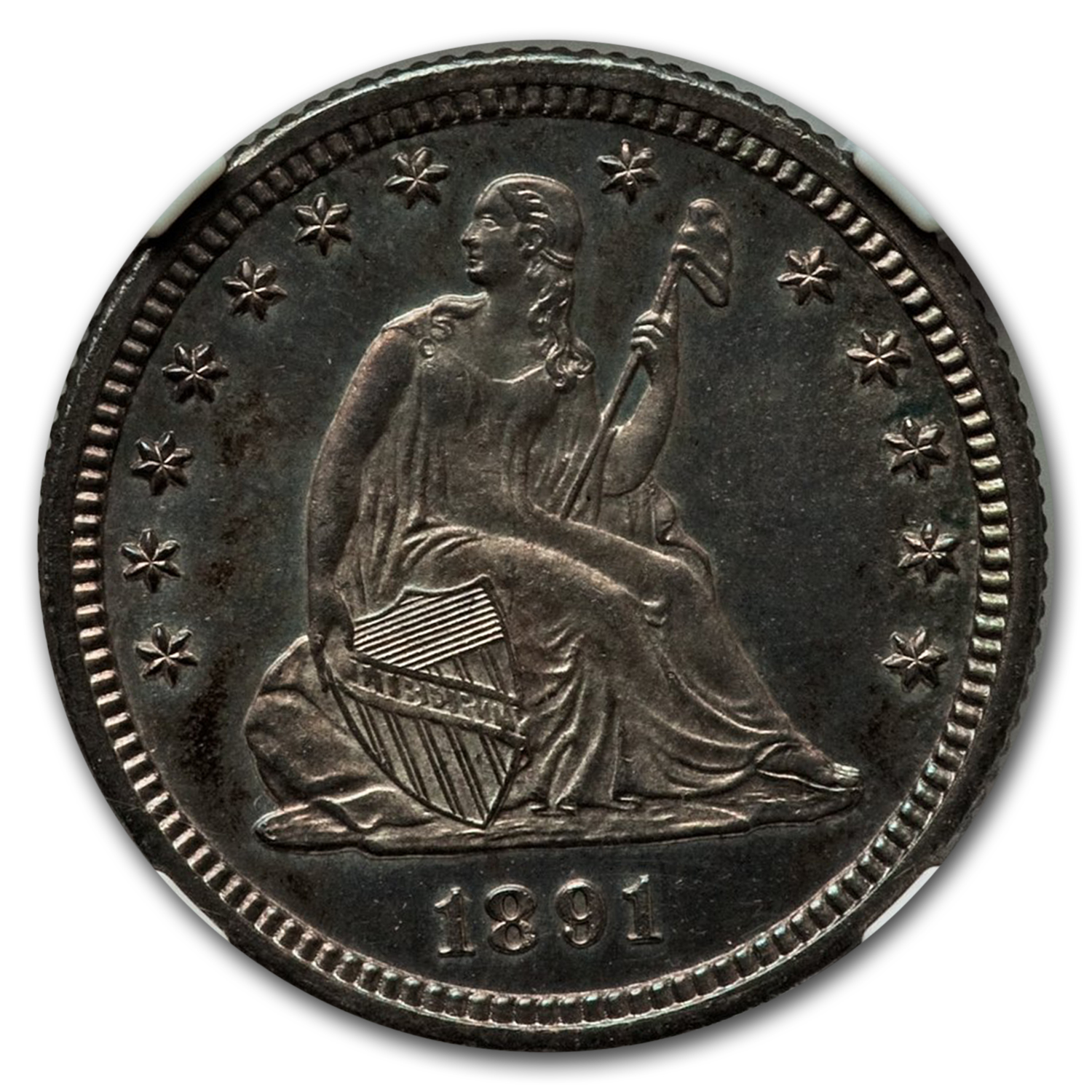 1891-O Seated Liberty Quarter MS-65 PL NGC