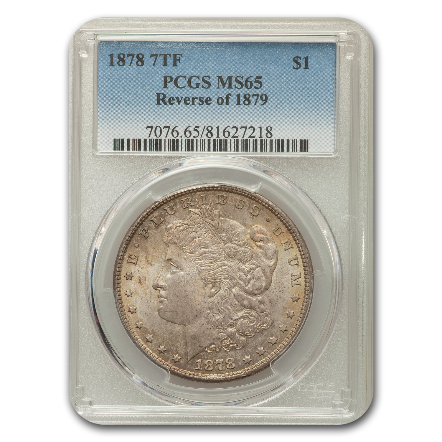 1878 Morgan Dollar 7 TF Rev of 79 MS-65 PCGS