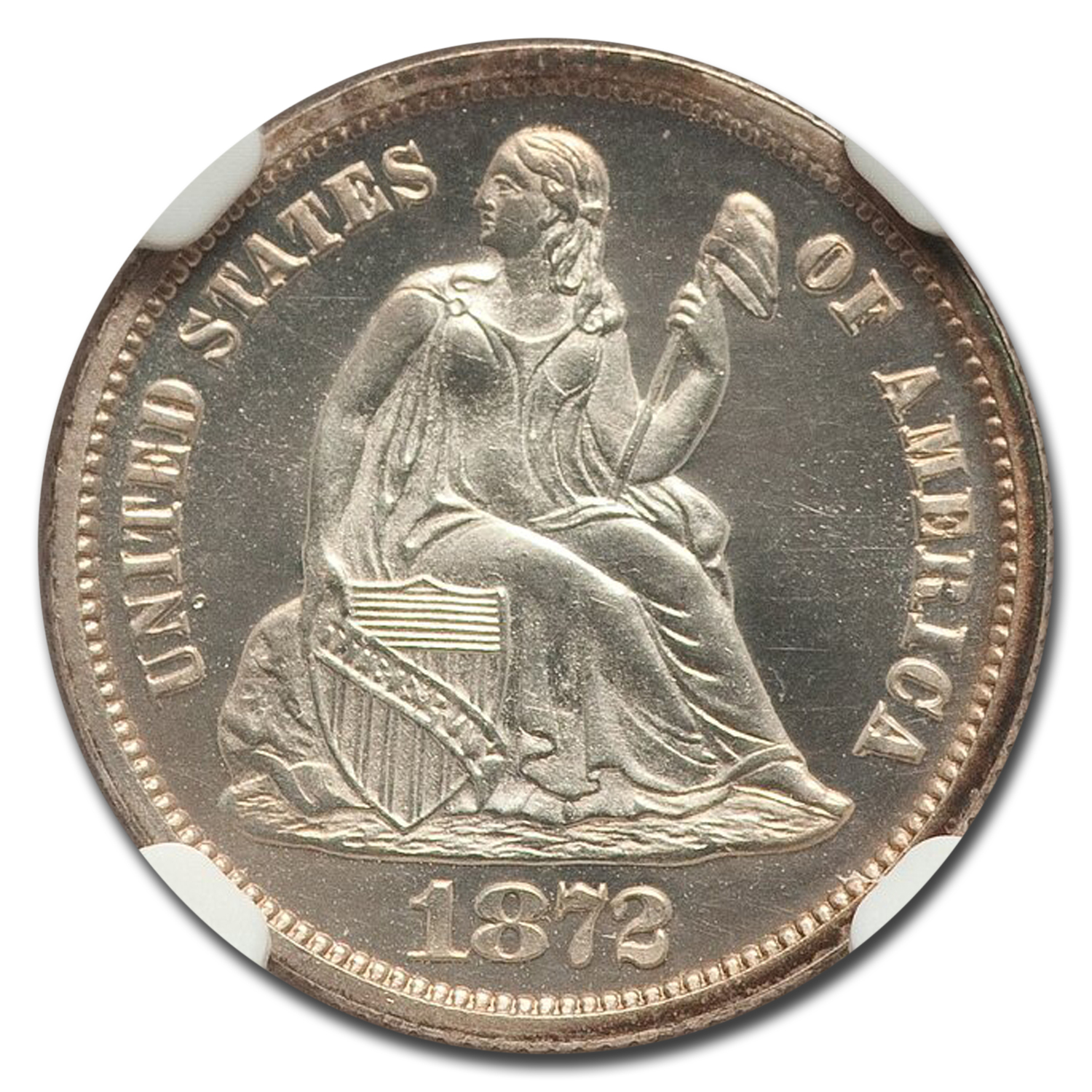 1872 Seated Liberty Dime PF-67 Cameo NGC
