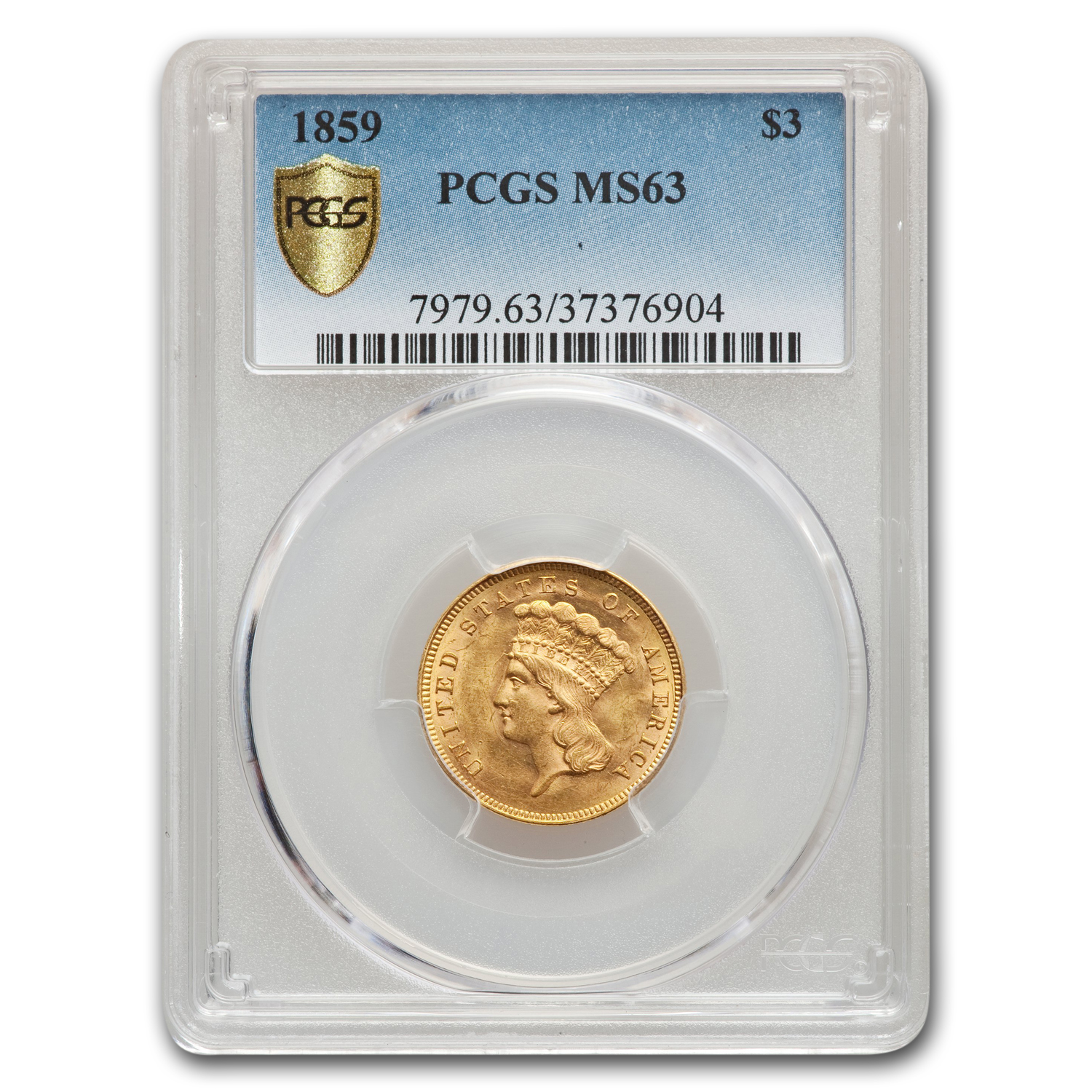 1859 $3 Gold Princess MS-63 PCGS